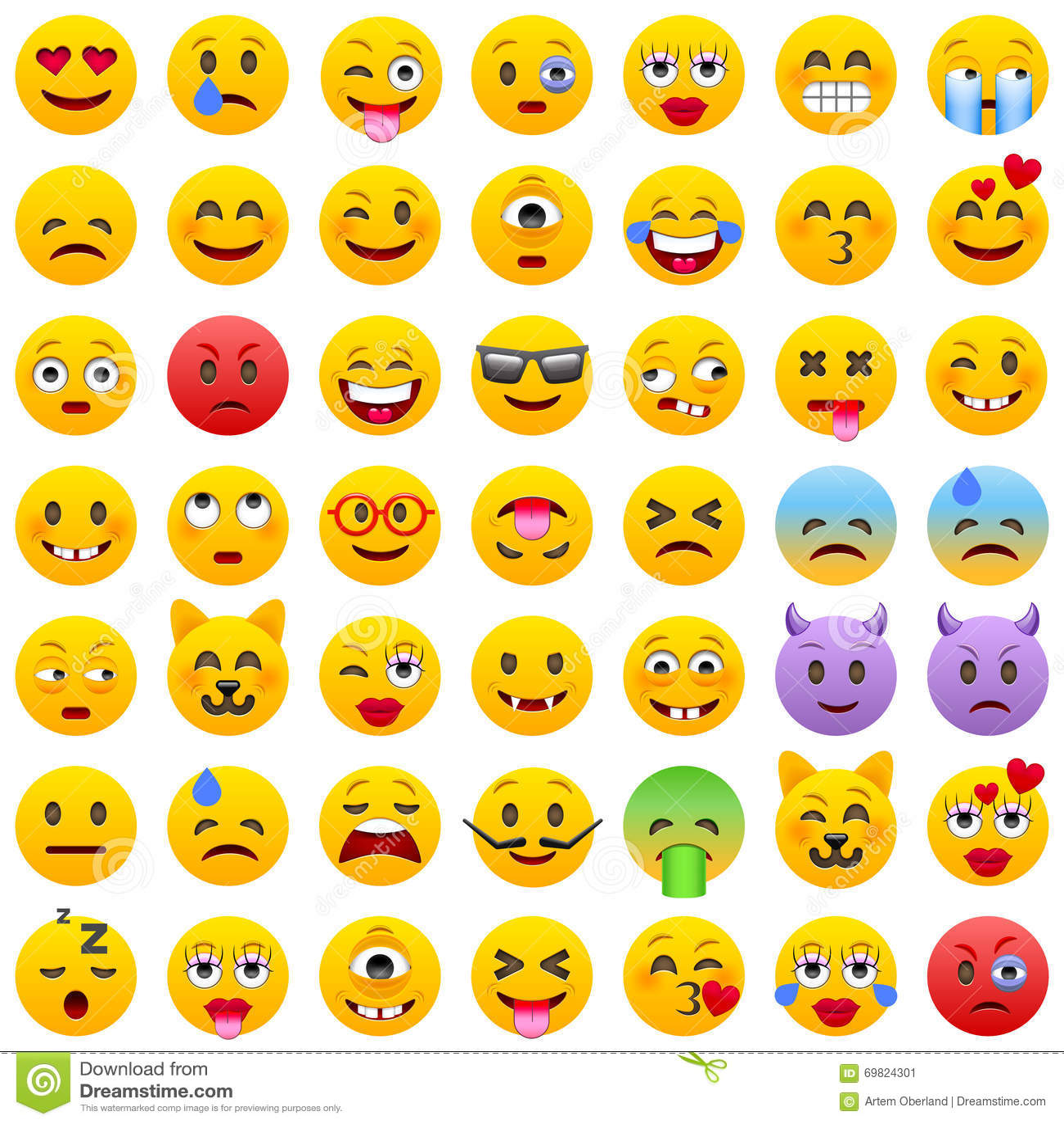 Ensemble d émoticônes Ensemble d Emoji Icônes de sourire Illustration d isolement de vecteur sur le fond blanc