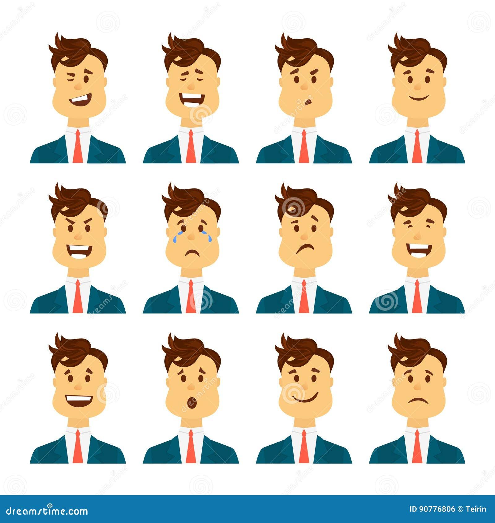 Ensemble d émotions faciales masculines Caractère barbu d emoji d homme avec différentes expressions Illustration de vecteur dans