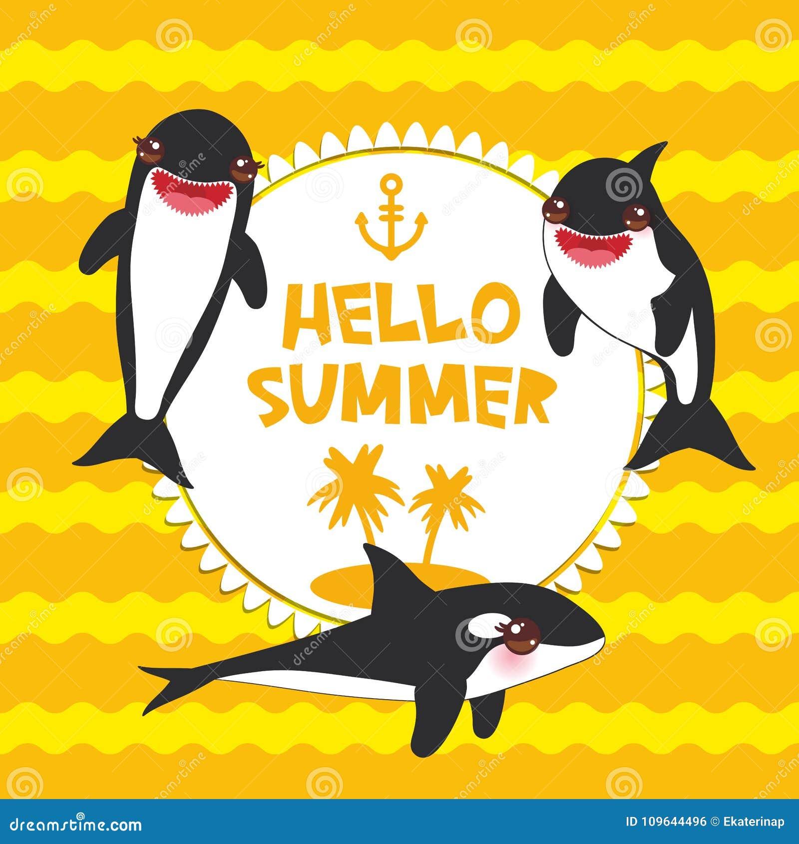 Ensemble d épaulard de bande dessinée Bonjour été, orque, épaulard, loup de mer Kawaii avec les joues roses et sourire positif su