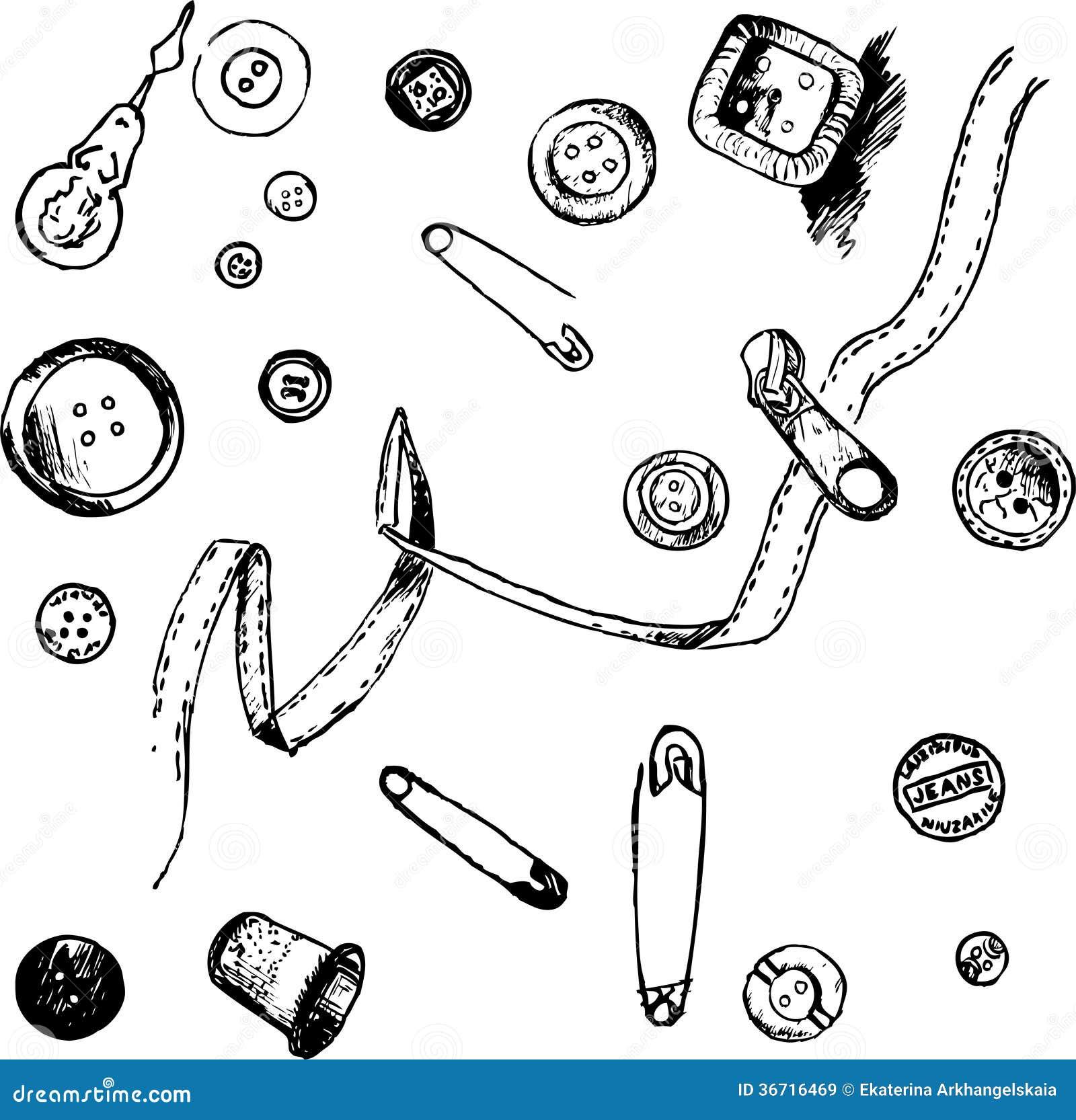 Ensemble d 39 quipement de couture de dessin d 39 encre images - Dessin couture ...