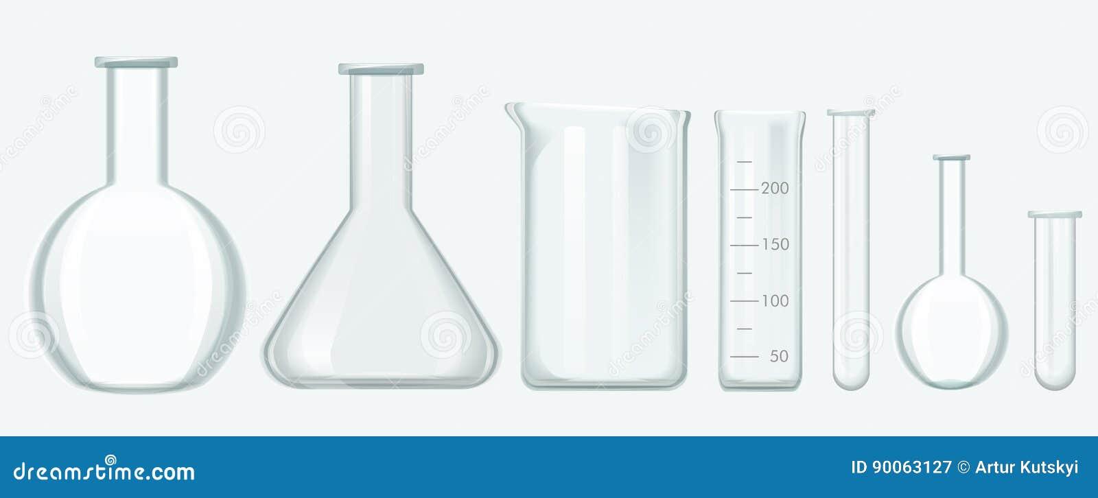 Ensemble d équipement de la Science chimique Illustration en verre de vecteur d équipement de laboratoire