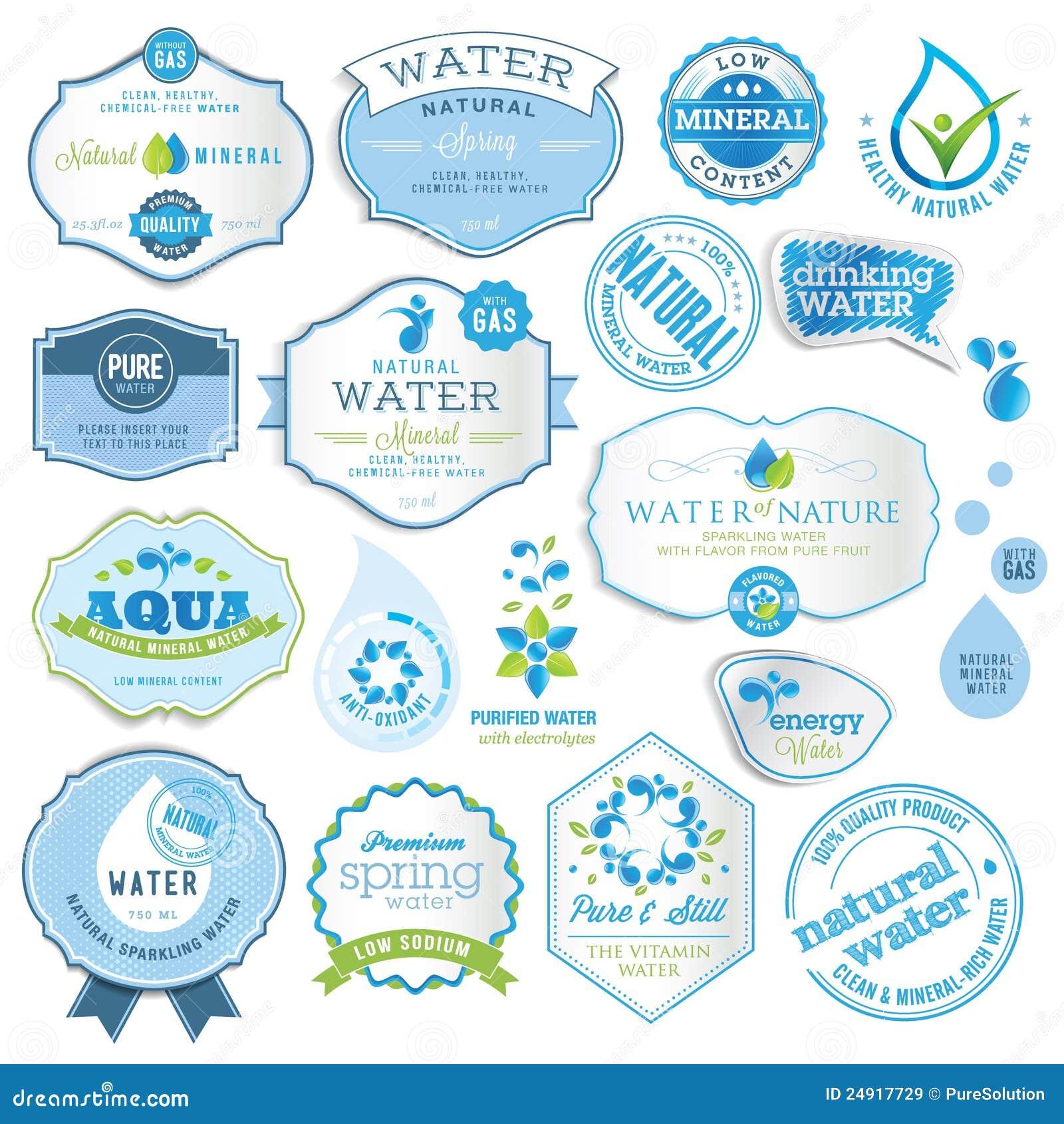 Ensemble d étiquettes de l eau