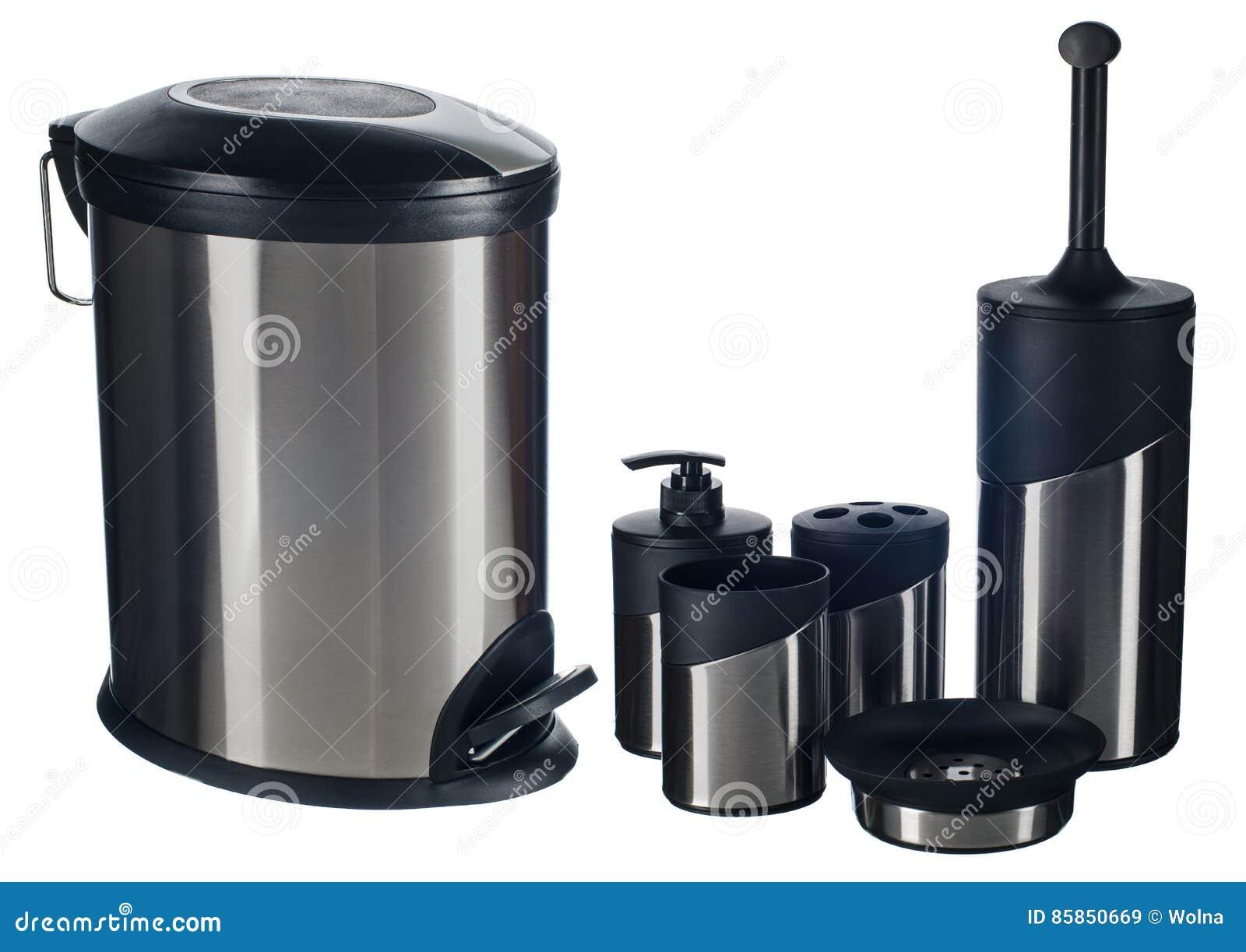 ensemble d 39 accessoire de toilette d 39 acier inoxydable image stock image du mat riel fond 85850669. Black Bedroom Furniture Sets. Home Design Ideas