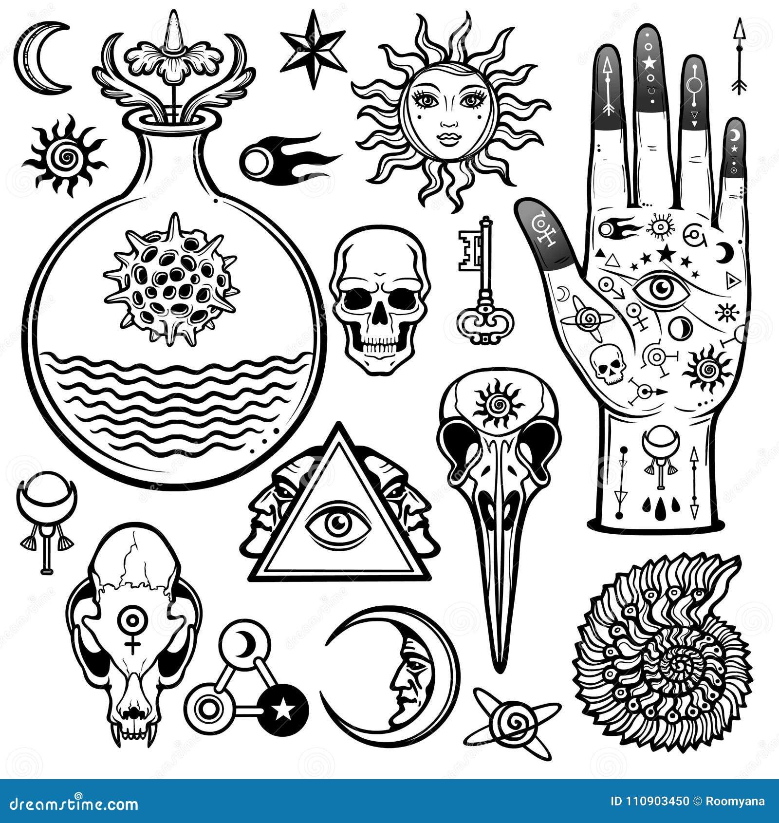 Ensemble d animation de symboles alchimiques Ésotérique, mysticisme, occultisme