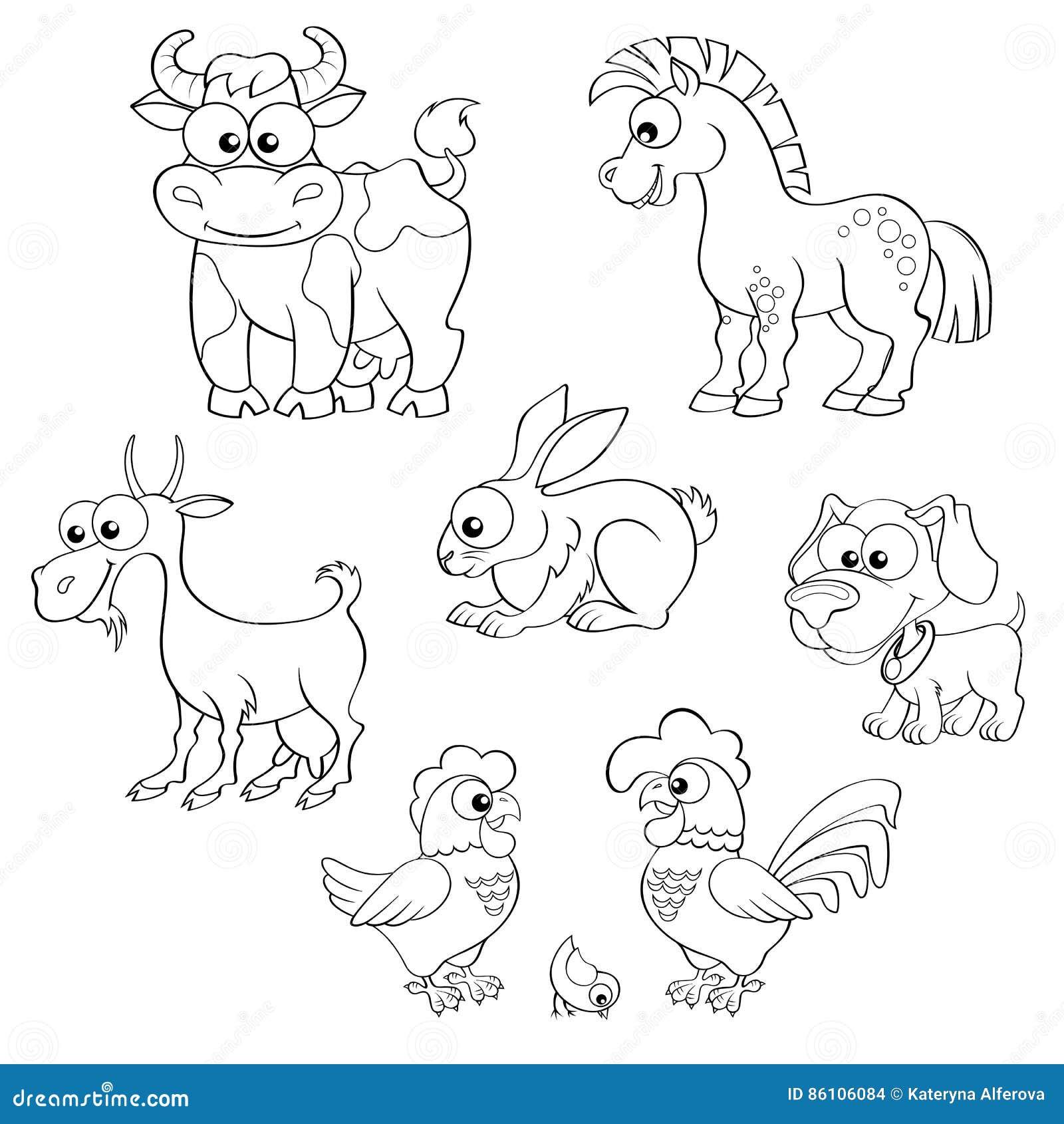 Coloriage Ferme Poussins.Ensemble D Animaux De Ferme Mignons De Bande Dessinee Cheval Vache