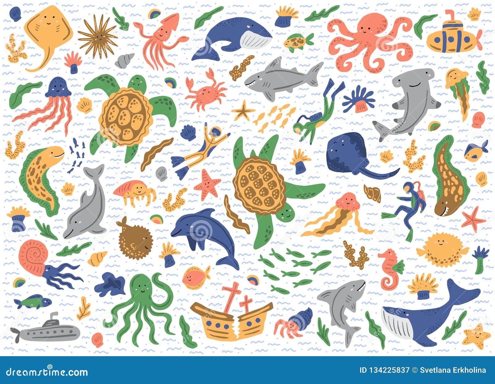 Ensemble d animaux de mer D isolement sur le fond blanc Illustrations puériles mignonnes Étiquettes lustrées blanc de vecteur