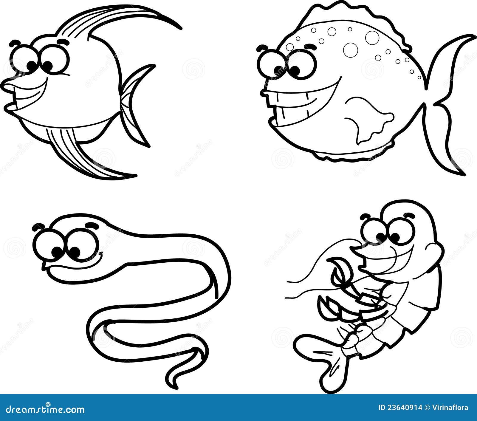 Ensemble d 39 animaux marins de dessin anim vecteur illustration de vecteur illustration du - Dessin d animaux marins ...