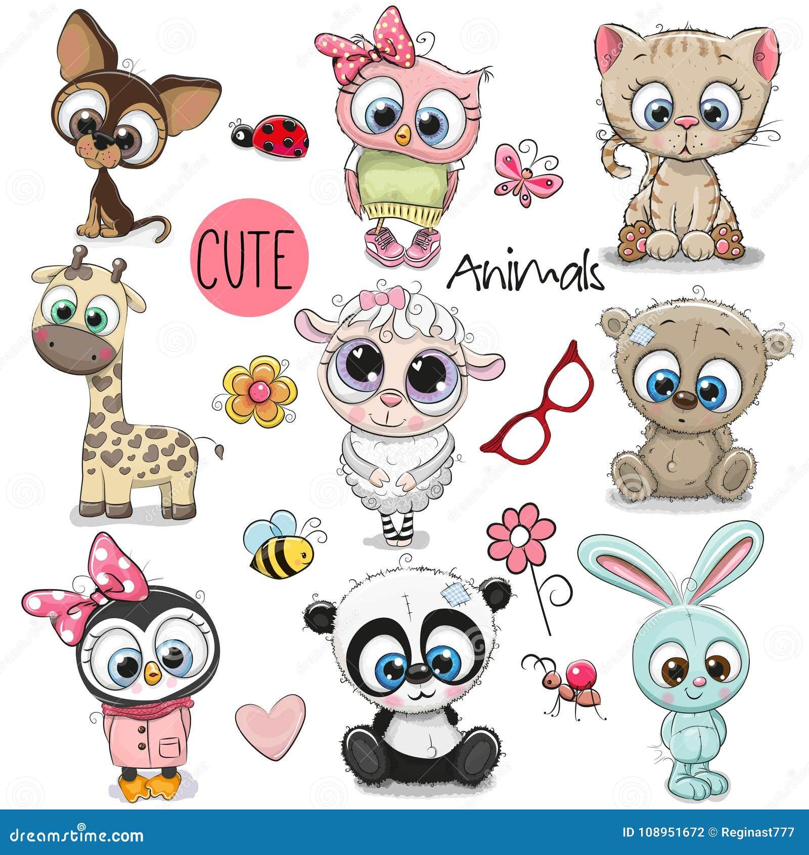 Ensemble d 39 animaux mignons de dessin anim illustration de vecteur illustration du album yeux - Dessin d animaux ...