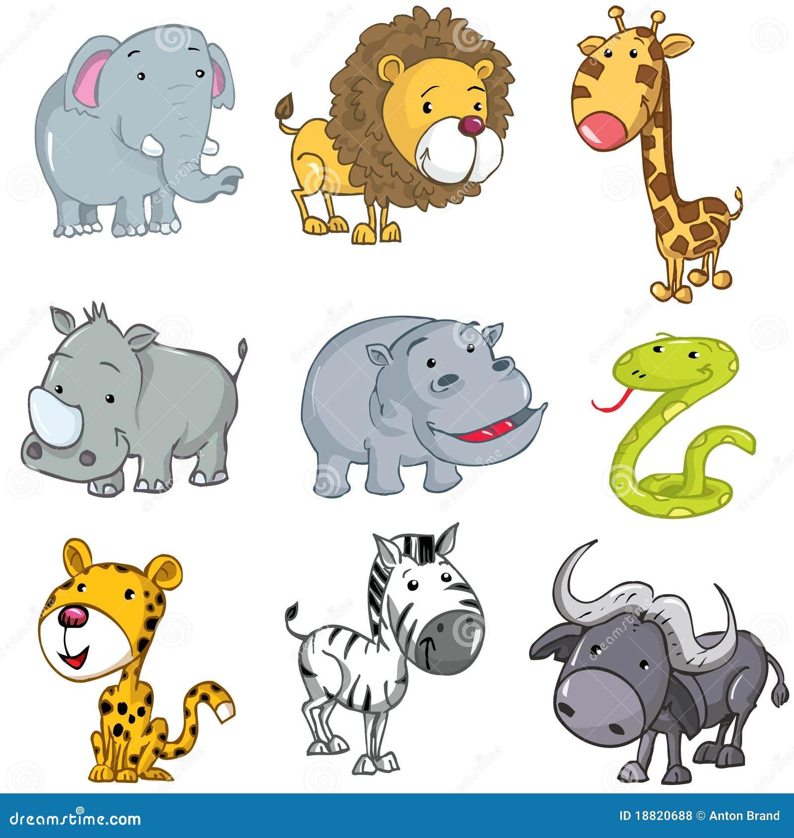 Ensemble d 39 animaux mignons de dessin anim illustration de - Dessin animaux sauvages ...