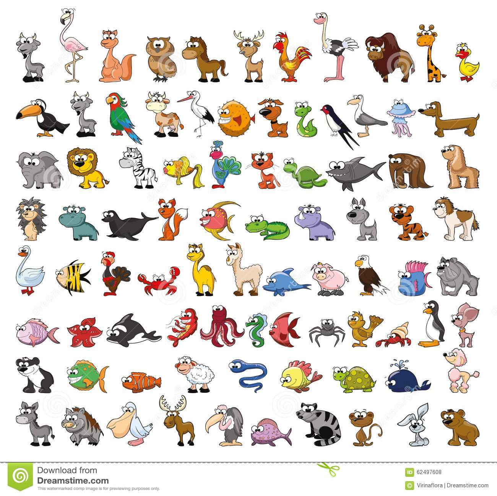 Dessin D Animaux Mignon ensemble d'animaux mignons de dessin animé illustration de vecteur