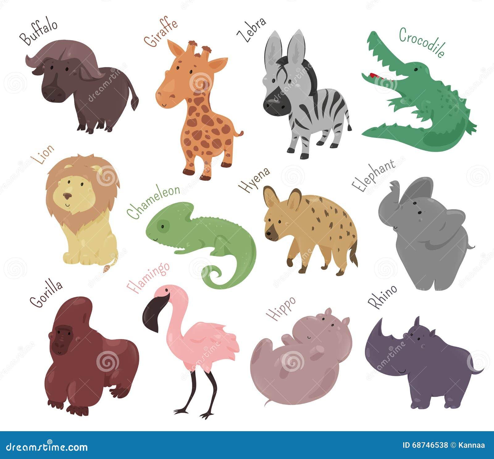 Ensemble d 39 animaux mignons de dessin anim la savane dr le illustration de vecteur - La savane dessin ...