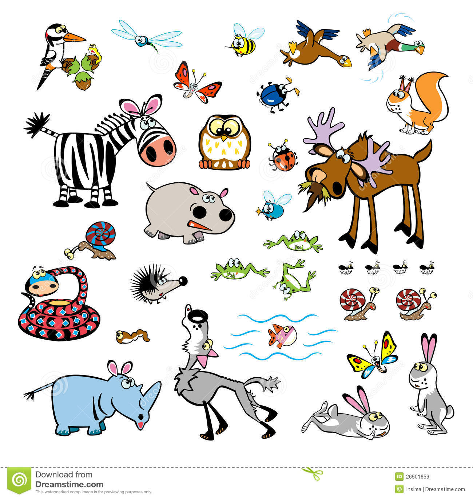 Ensemble d 39 animaux sauvages de dessin anim enfantin - Dessin animaux sauvages ...