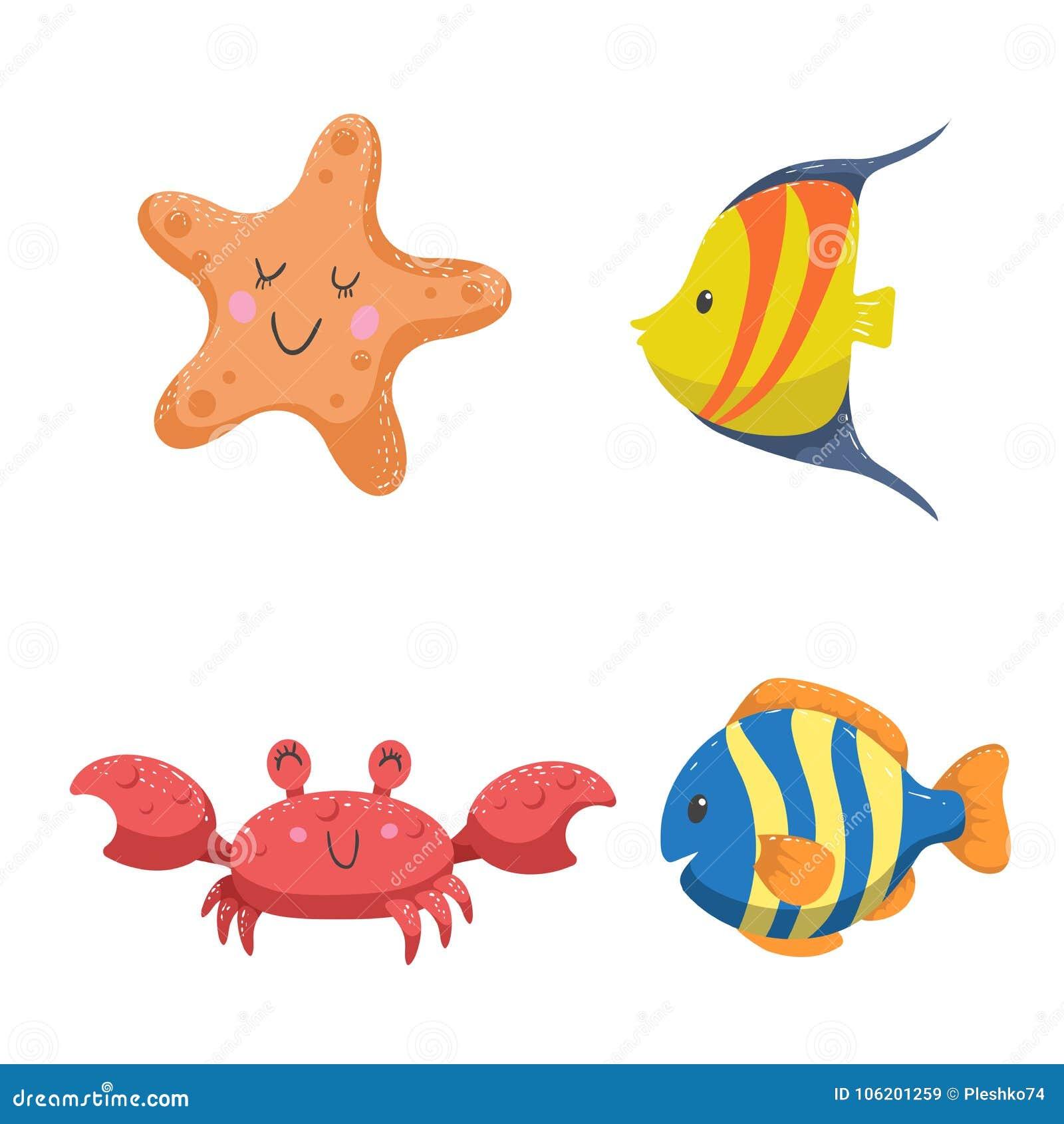 Ensemble d animaux tropicaux de mer et d océan L étoile de mer, le crabe et le tropique différent de couleur pêche
