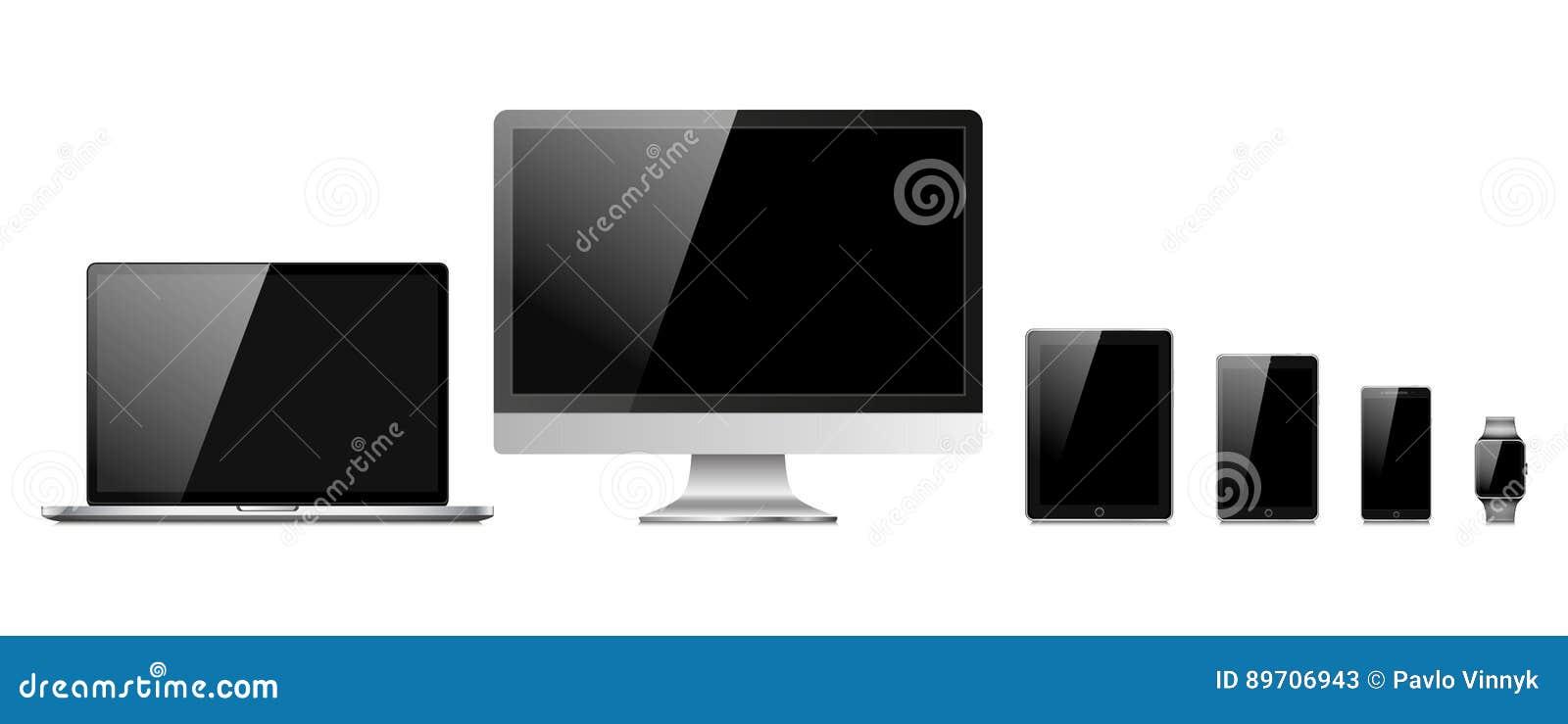 Ensemble d appareils électroniques modernes d isolement sur le fond blanc - ordinateur portable, moniteur d ordinateur, montre in