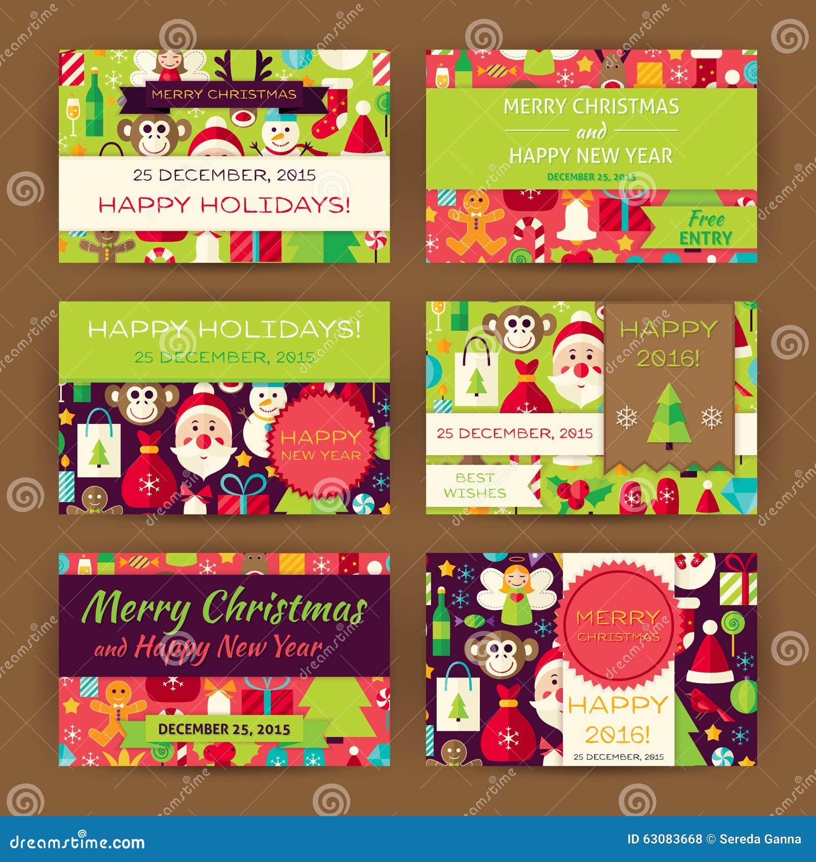Download Ensemble D'appartement De Calibre D'invitation De Vecteur De Joyeux Noël Illustration de Vecteur - Illustration du coloré, plat: 63083668