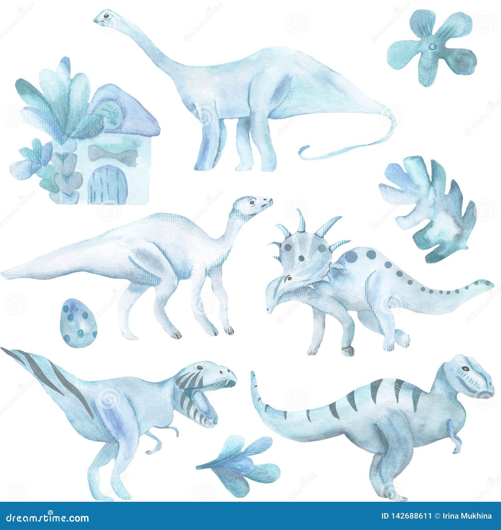 Ensemble d aquarelle de grand, de dinosaures et de plantes tropicales