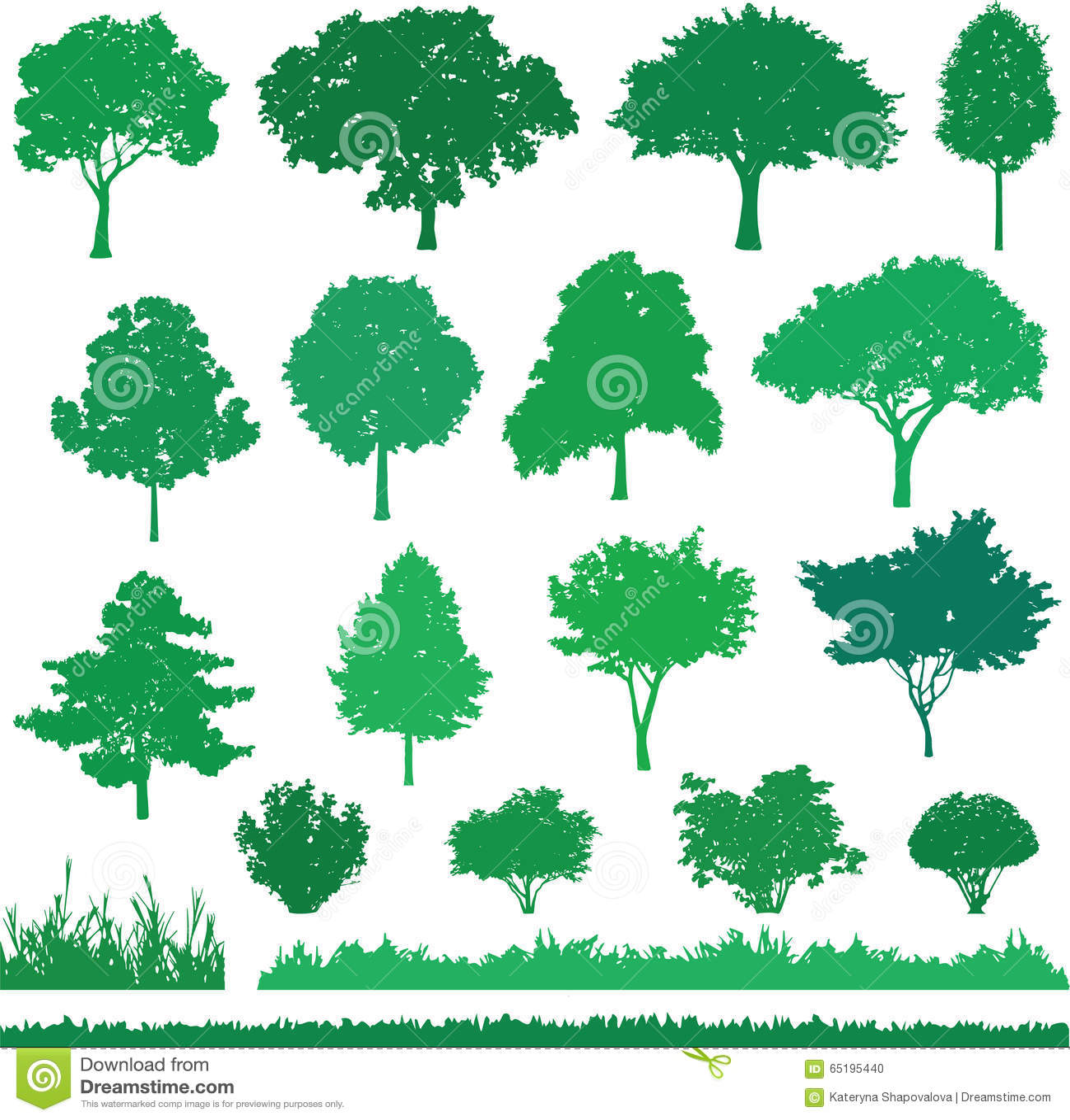 ensemble d 39 arbre d 39 arbuste et d 39 herbe verts illustration. Black Bedroom Furniture Sets. Home Design Ideas