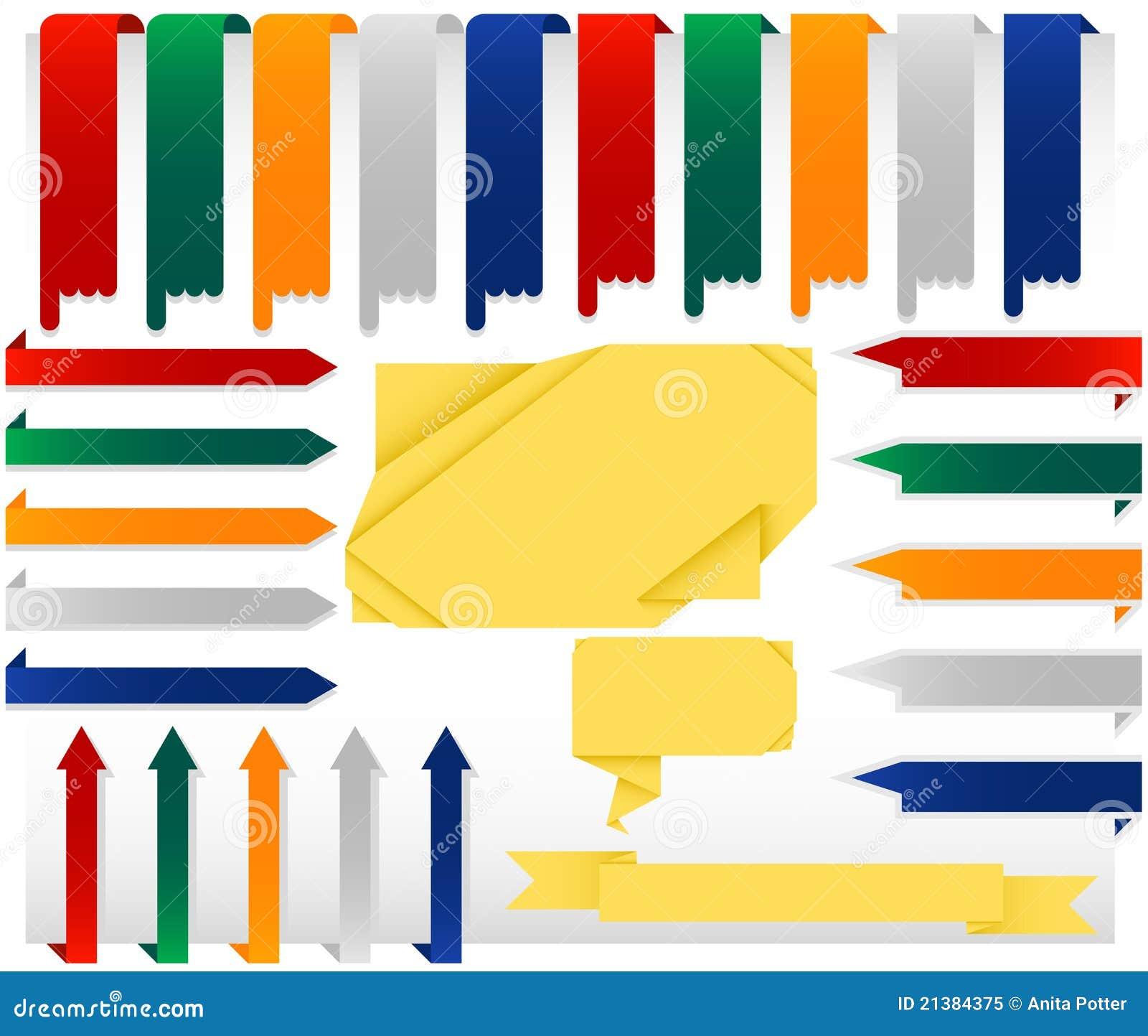 Ensemble d arrêter des drapeaux de Web d Origami