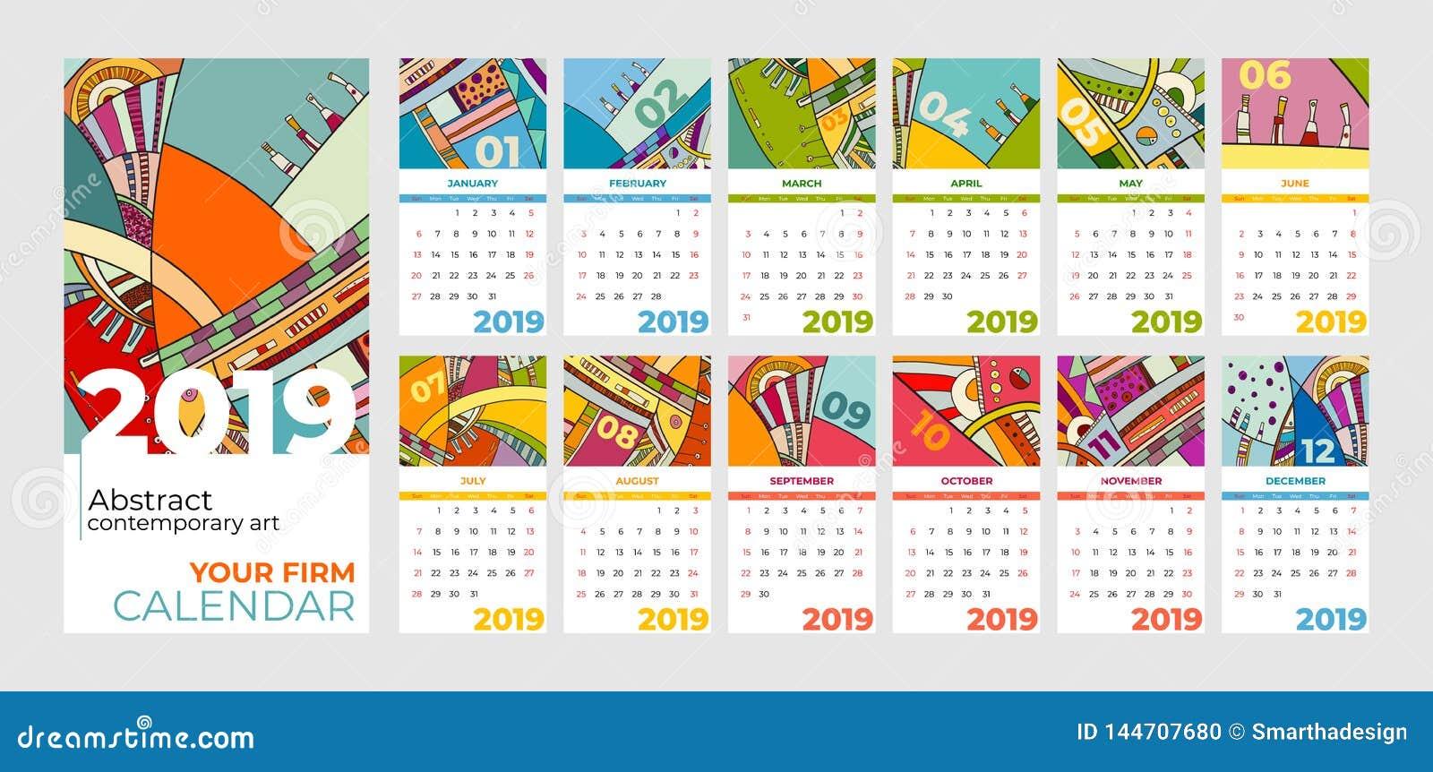 Ensemble d art contemporain d abrégé sur 2019 calendriers Bureau, écran, mois de bureau 2019, calibre coloré de 2019 calendri