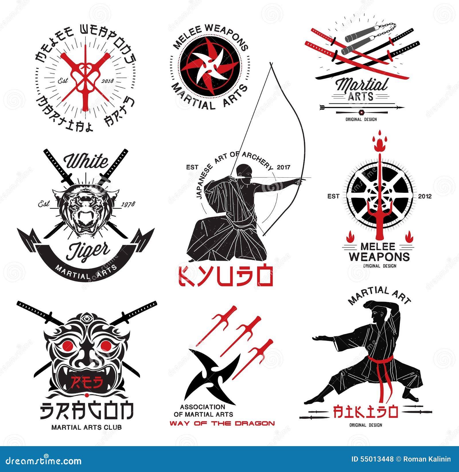 Ensemble d 39 arts martiaux de logo samoura japonais d for Les arts martiaux chinois