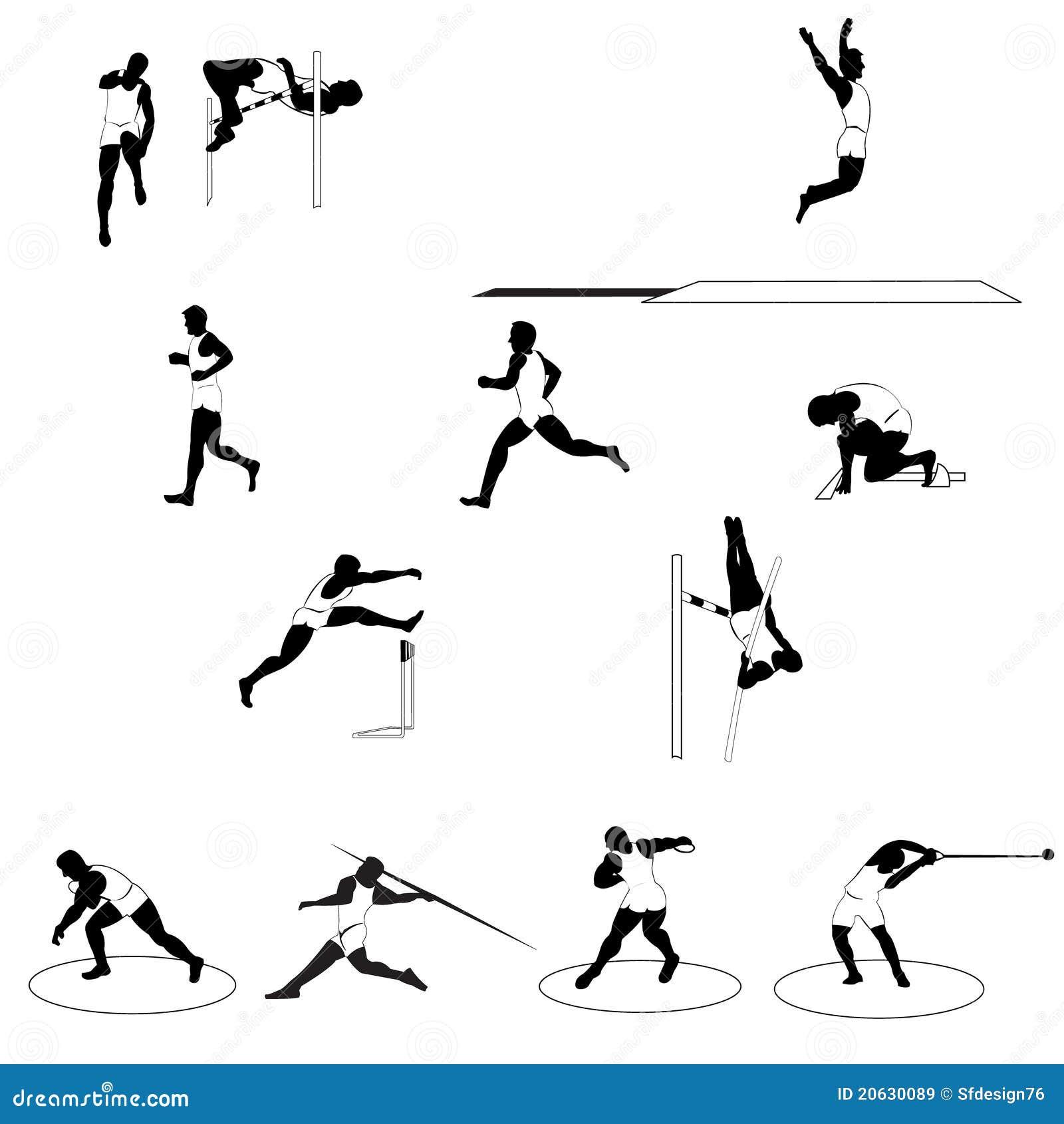 Ensemble d athlétisme sportif de silhouettes