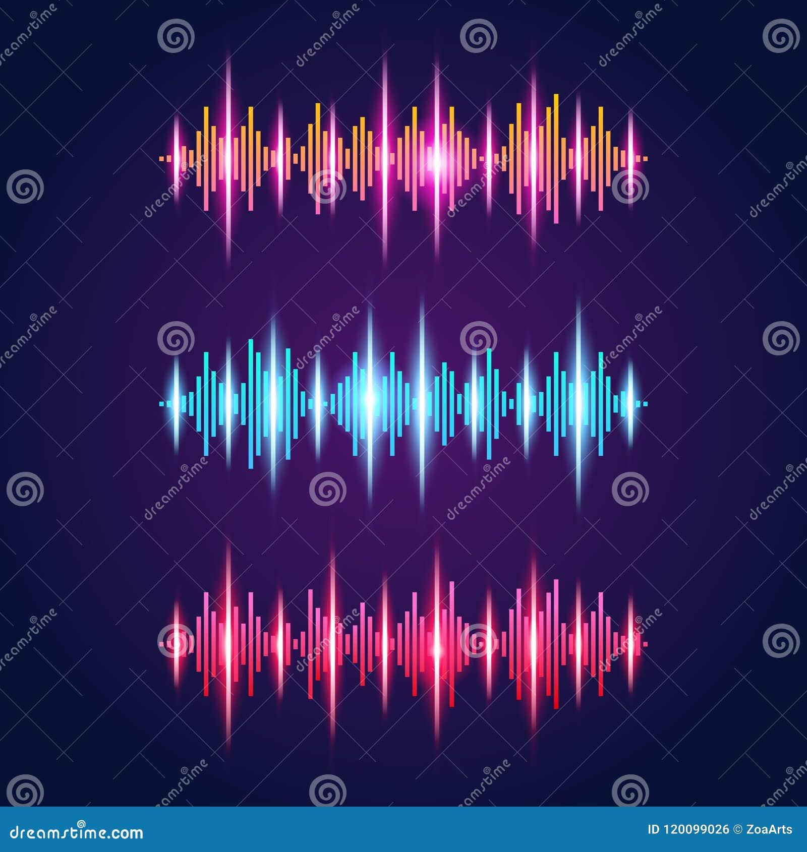 Ensemble d ensemble audio orange lumineux de néon d égaliseur du rouge trois bleu avec des symboles d ondes sonores sur l apparte