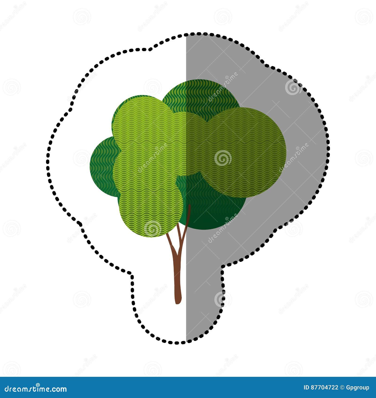 Ensemble d autocollant de couleur d icône abstraite d arbre