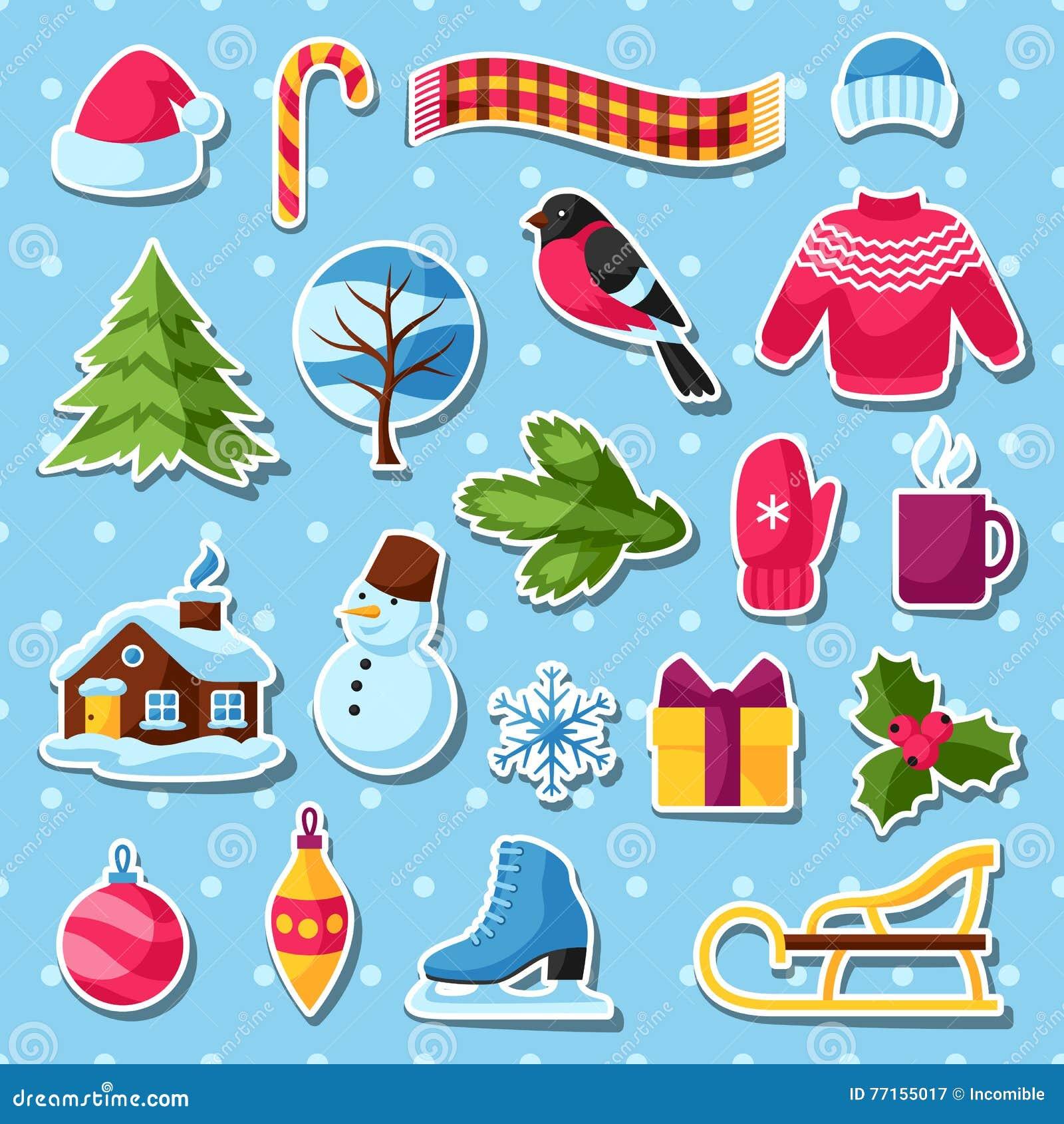 Ensemble d autocollants d hiver Articles de vacances de Joyeux Noël, de bonne année et symboles