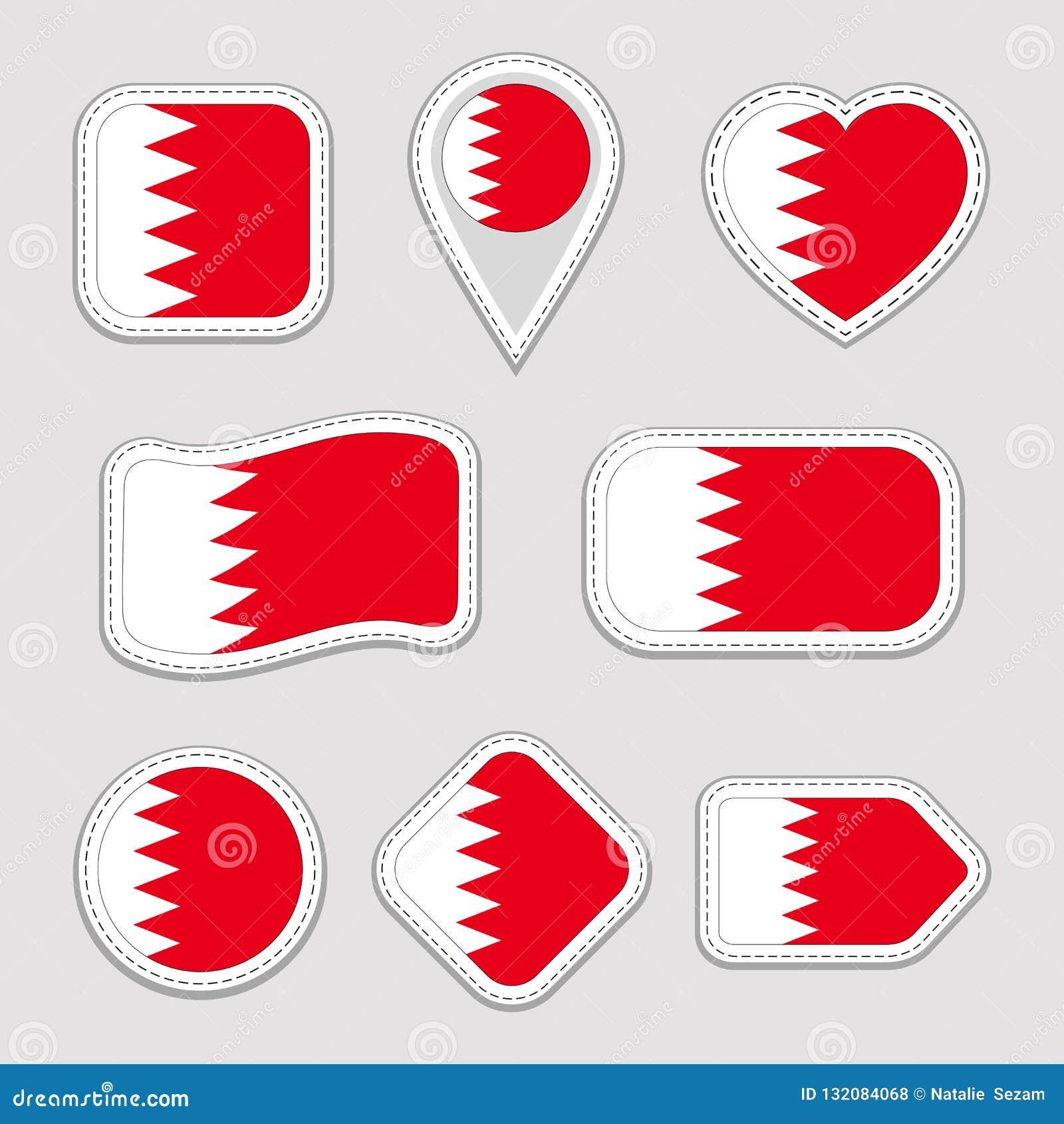 Ensemble d autocollants de drapeau du Bahrain Insignes bahreinites de symboles nationaux Icônes géométriques d isolement Le fonct