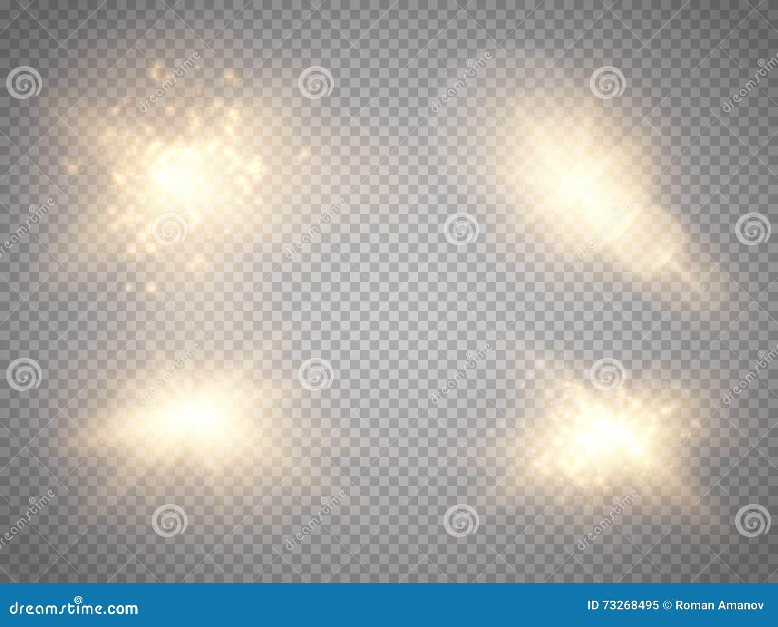 Ensemble d effets de la lumière rougeoyants d or d isolement sur le fond transparent Effet de la lumière de lueur Éclat d étoile