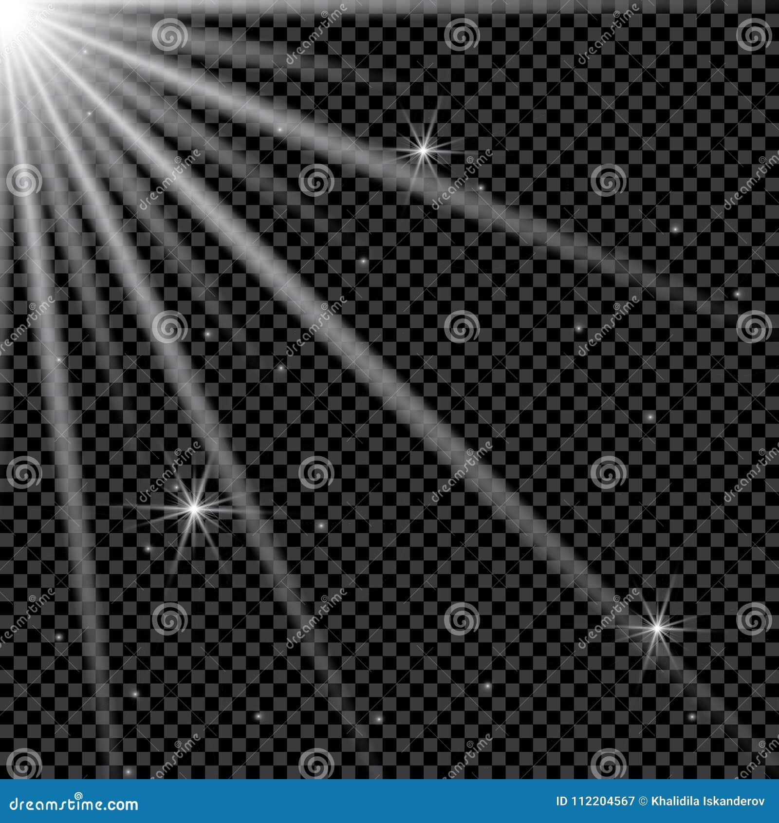 Ensemble d effets de la lumière rougeoyants d or d isolement sur le fond transparent Éclair de Sun avec les rayons et le projecte