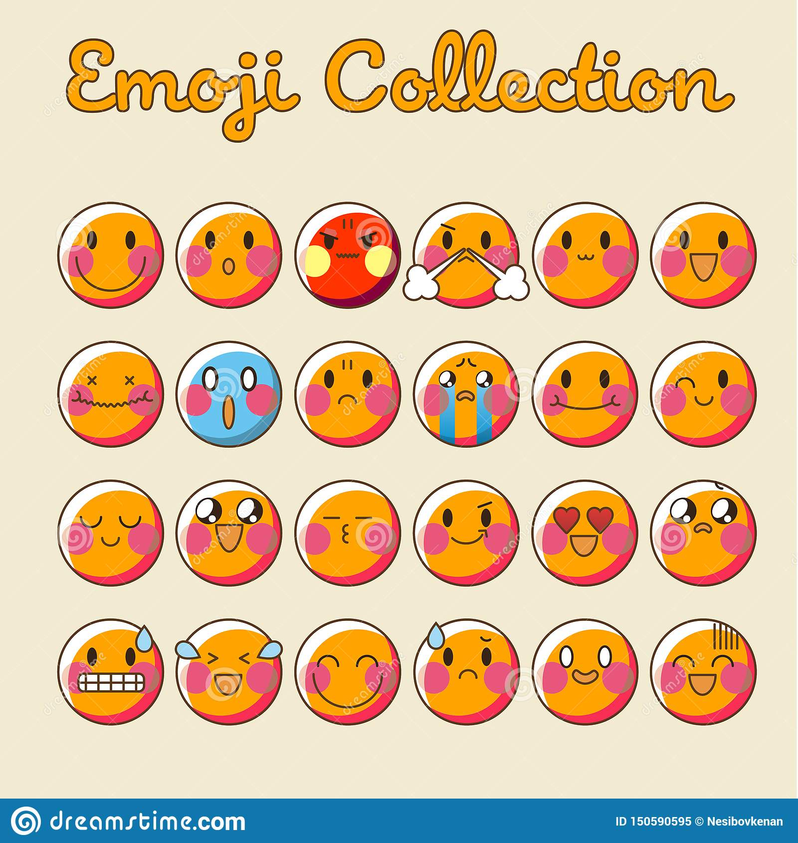 Ensemble d emoji de vecteur Collection plate d Emoji d icône d émoticône - vecteur