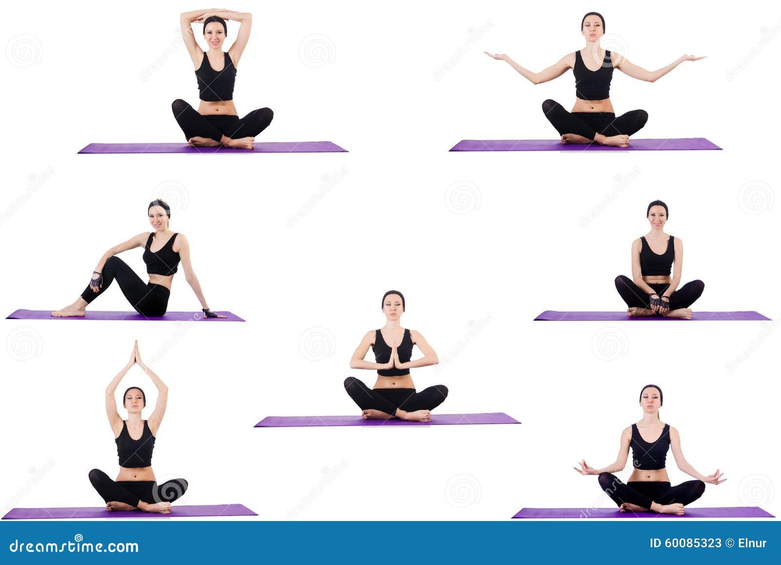ensemble d 39 exercices de yoga sur le blanc image stock image du concentration lotus 60085323. Black Bedroom Furniture Sets. Home Design Ideas
