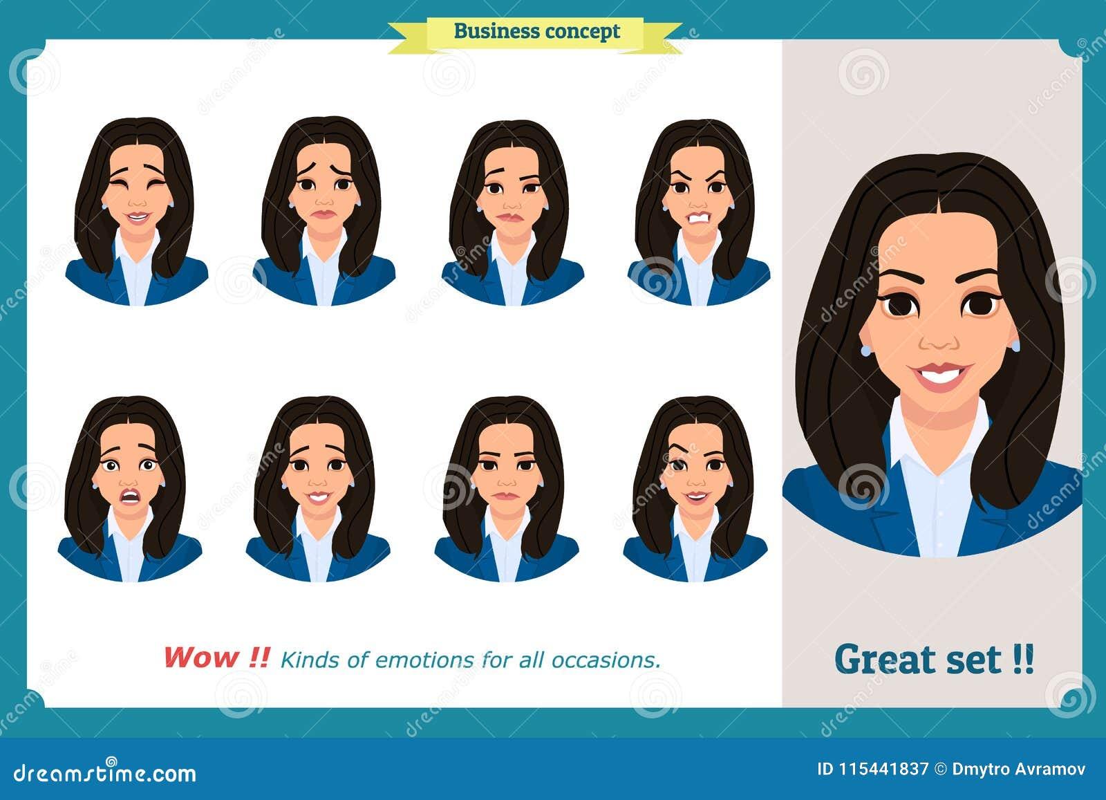 Ensemble d expression de femme d isolement Jeunes portraits d émotion Conception plate Caractère de femme d affaires