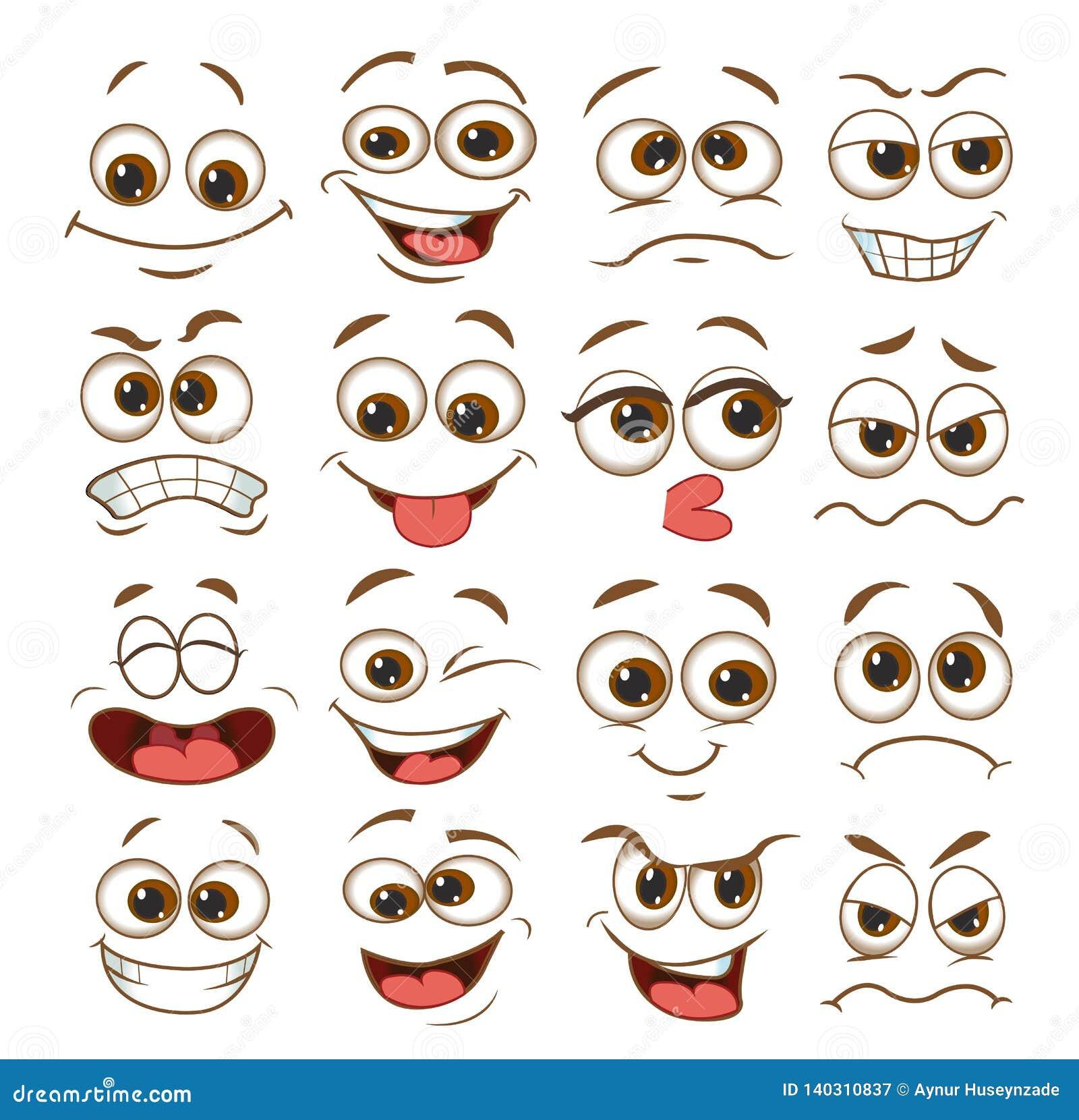Ensemble d expression de visage bande dessinée d émoticône d illustration de vecteur