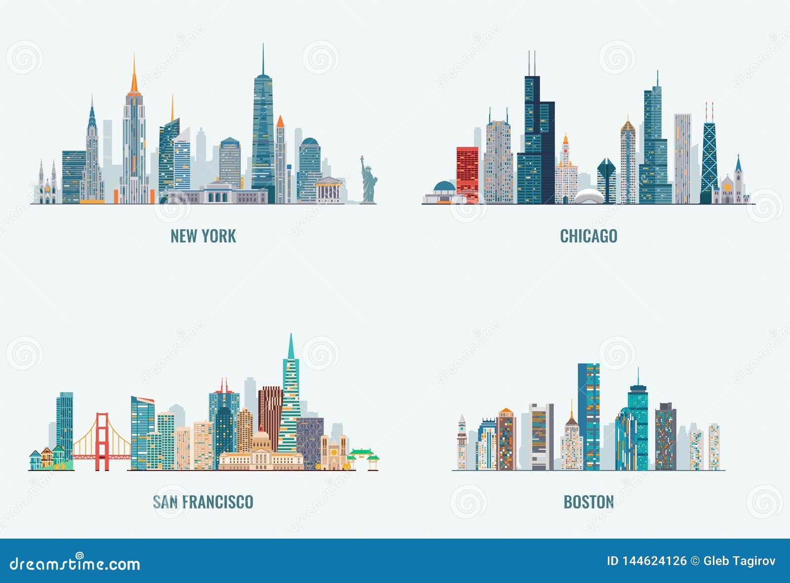 Ensemble d horizons de villes des Etats-Unis