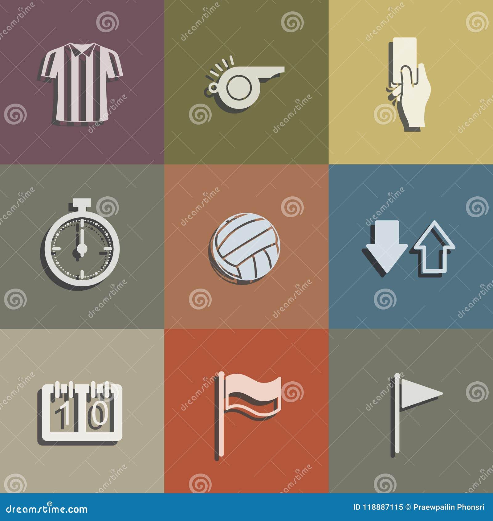 Ensemble d icône d arbitre du football Signe et symbole abstraits du football Vecteur