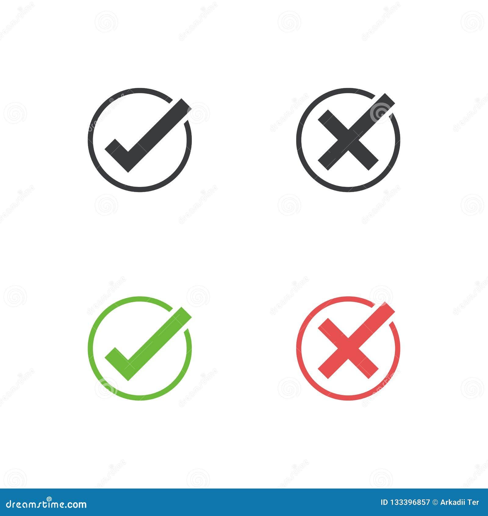 Ensemble d icône de coche Approuvez et décommandez le symbole pour le projet de conception Bouton plat oui et non Bon et mauvais