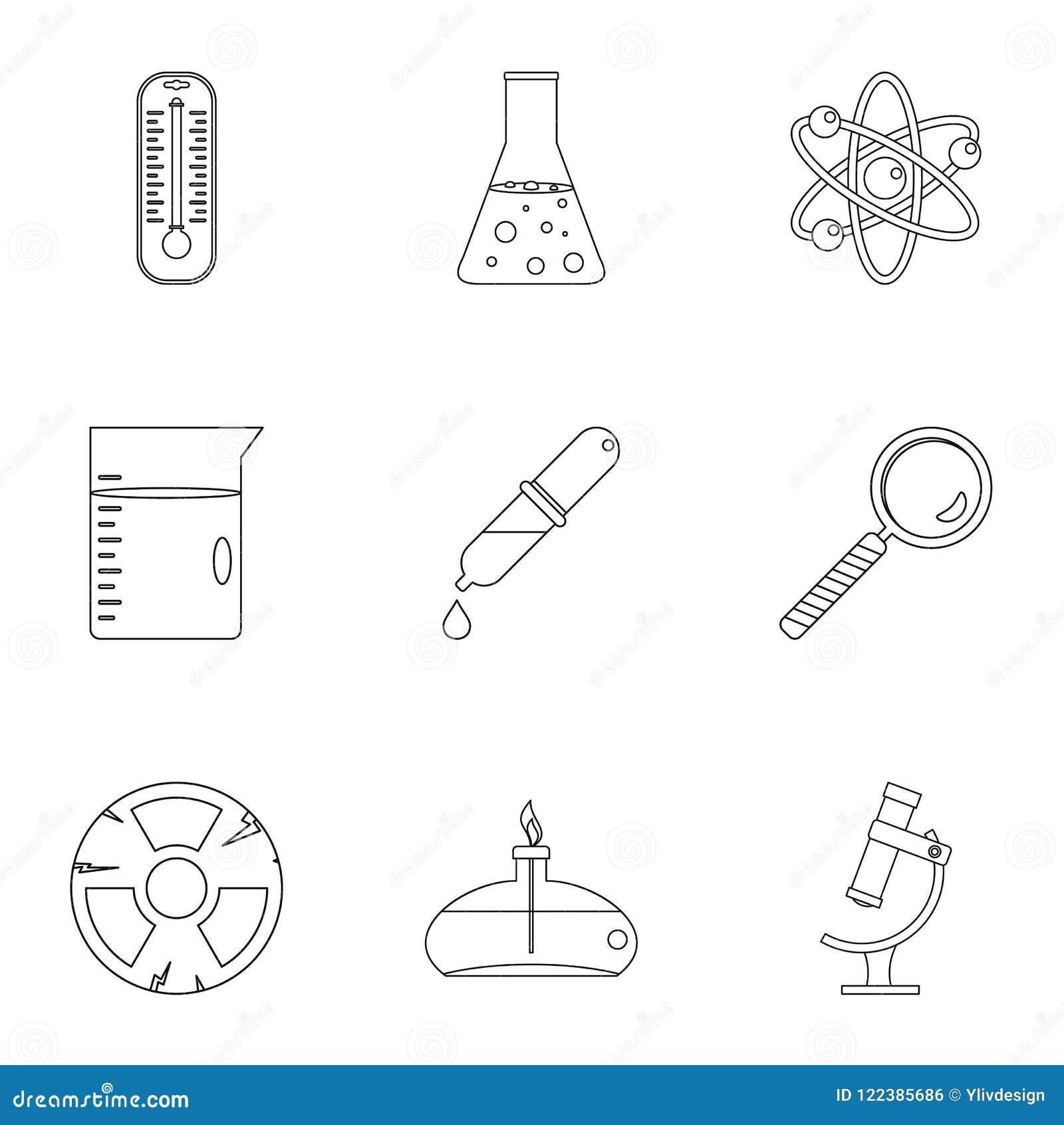 Ensemble d icône de la science de chimie, style d ensemble