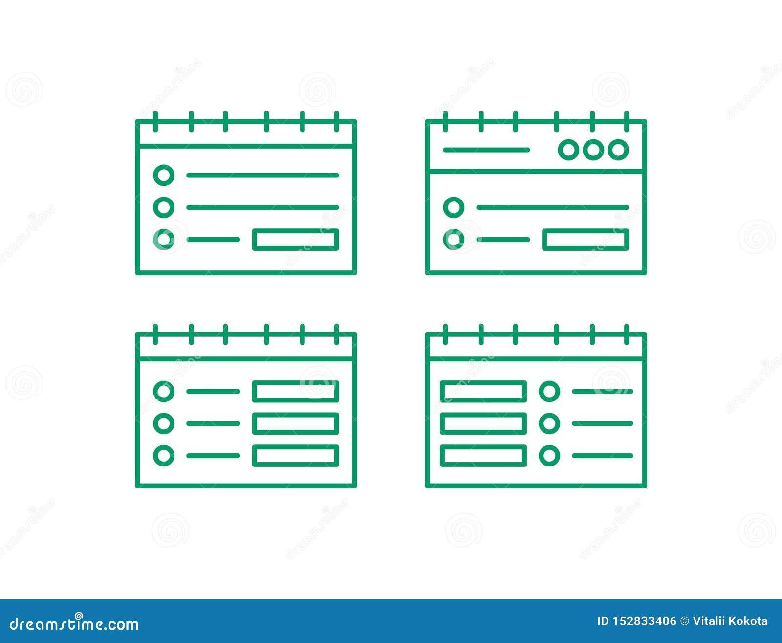 Ensemble d icône de page Web Éditez la ligne logo Illustation de vecteur de note