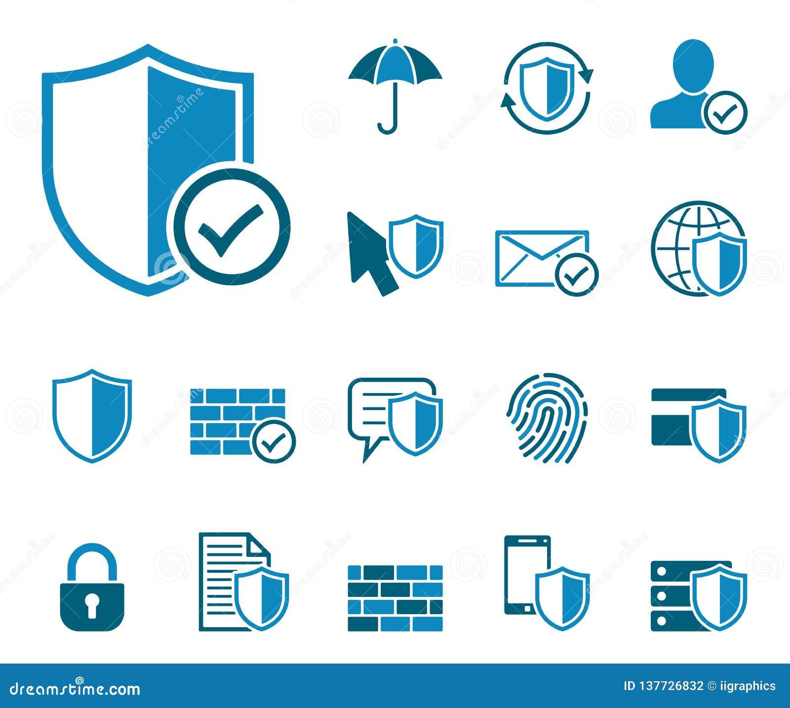 Ensemble d icône de protection des données