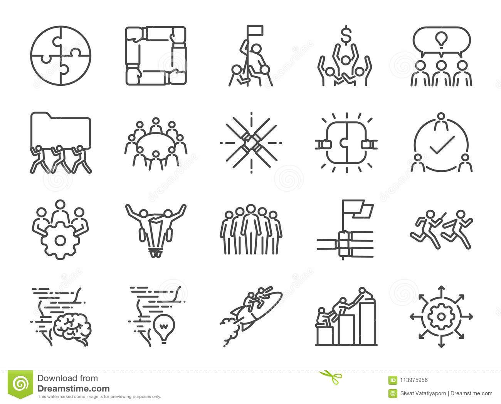Ensemble d icône de travail d équipe A inclus les icônes comme société, collaboration, participation, succès, ensemble, des affai