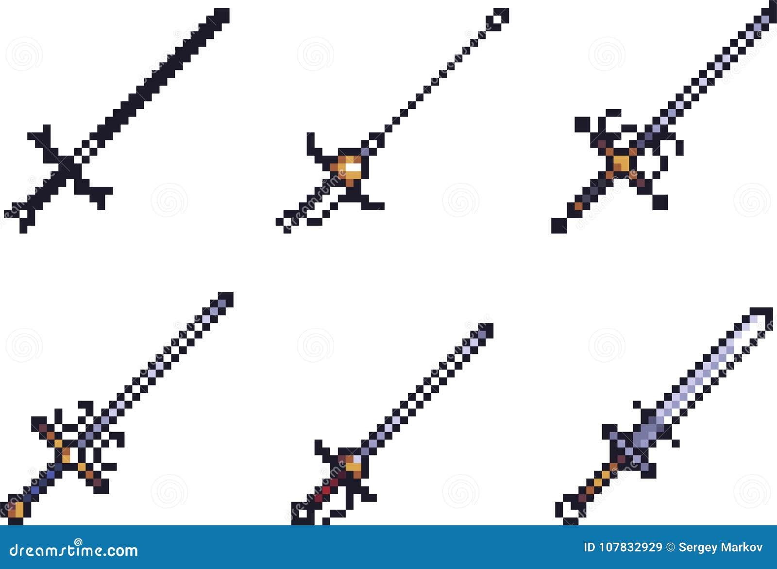 Ensemble D Icônes D Arme Dans Le Style De Pixel Illustration