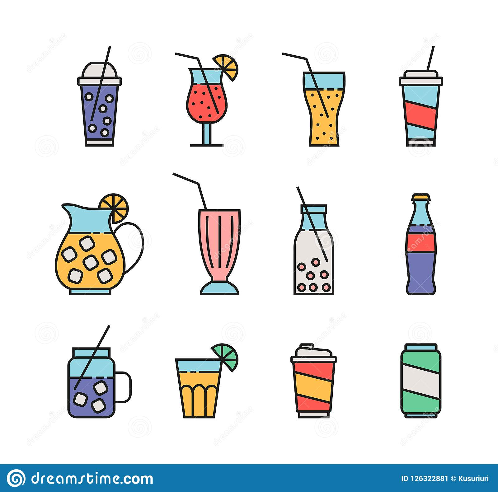 Ensemble d icônes de boisson