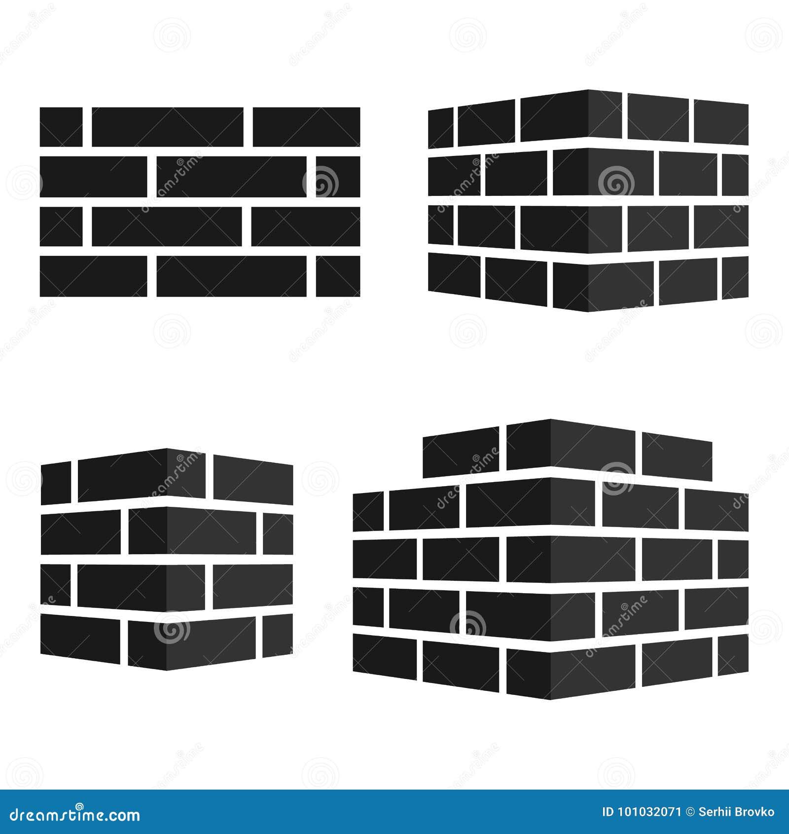 Ensemble d icônes de briques Logo de briques D isolement sur le fond blanc Illustration de vecteur