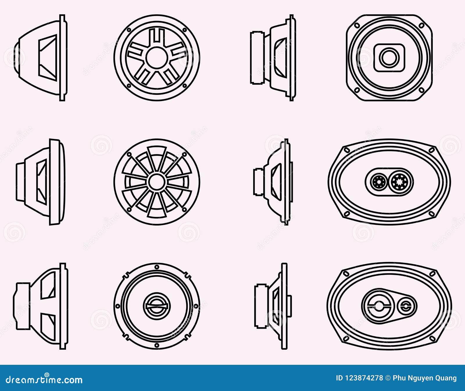 Type De Haut Parleur ensemble d'icônes de conducteur de haut-parleur audio de
