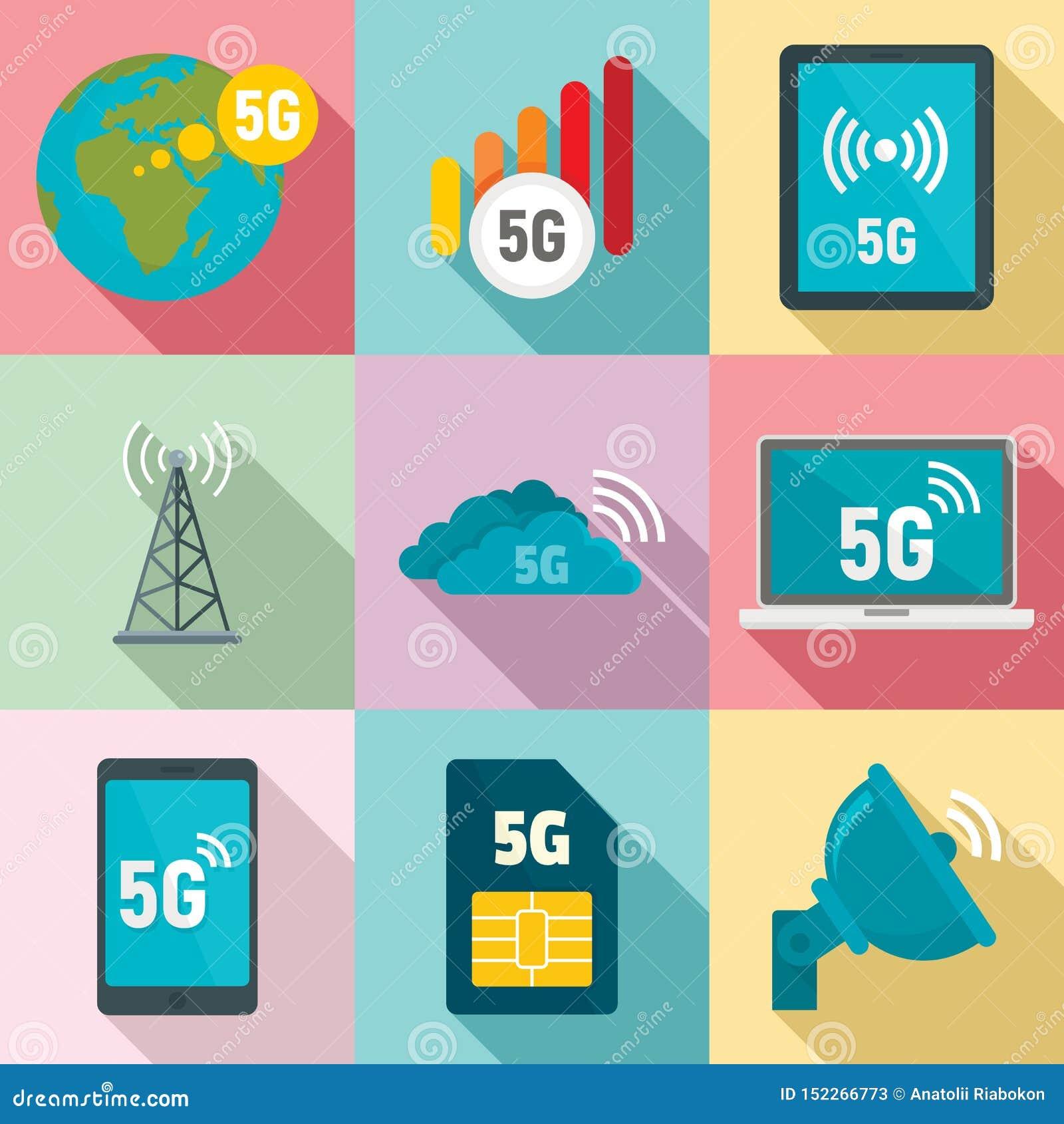 Ensemble d icônes de la technologie 5G, style plat