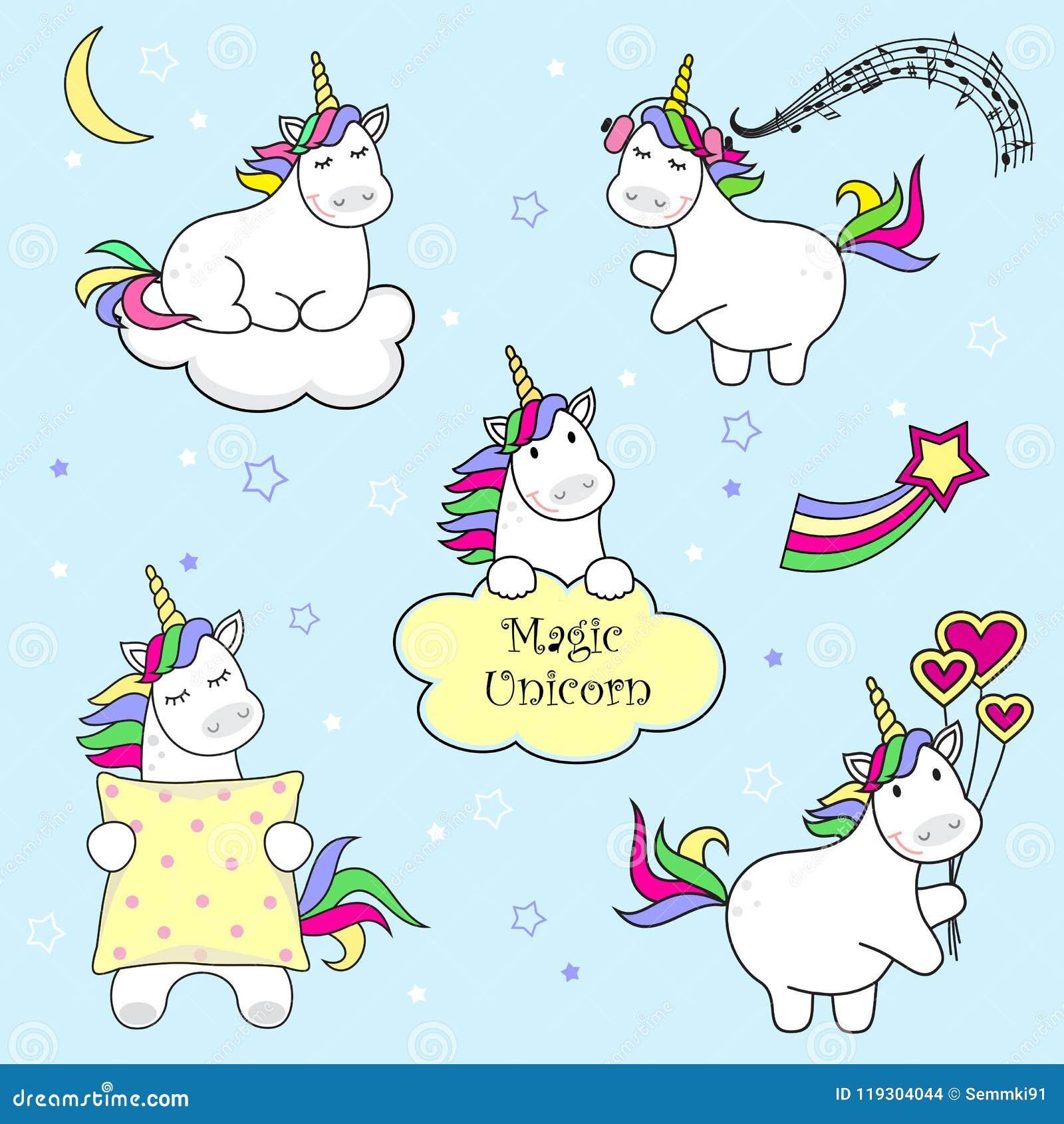 Ensemble d icônes de licorne, d arc-en-ciel et d étoiles mignons, illustration d enfant, conception de bande dessinée