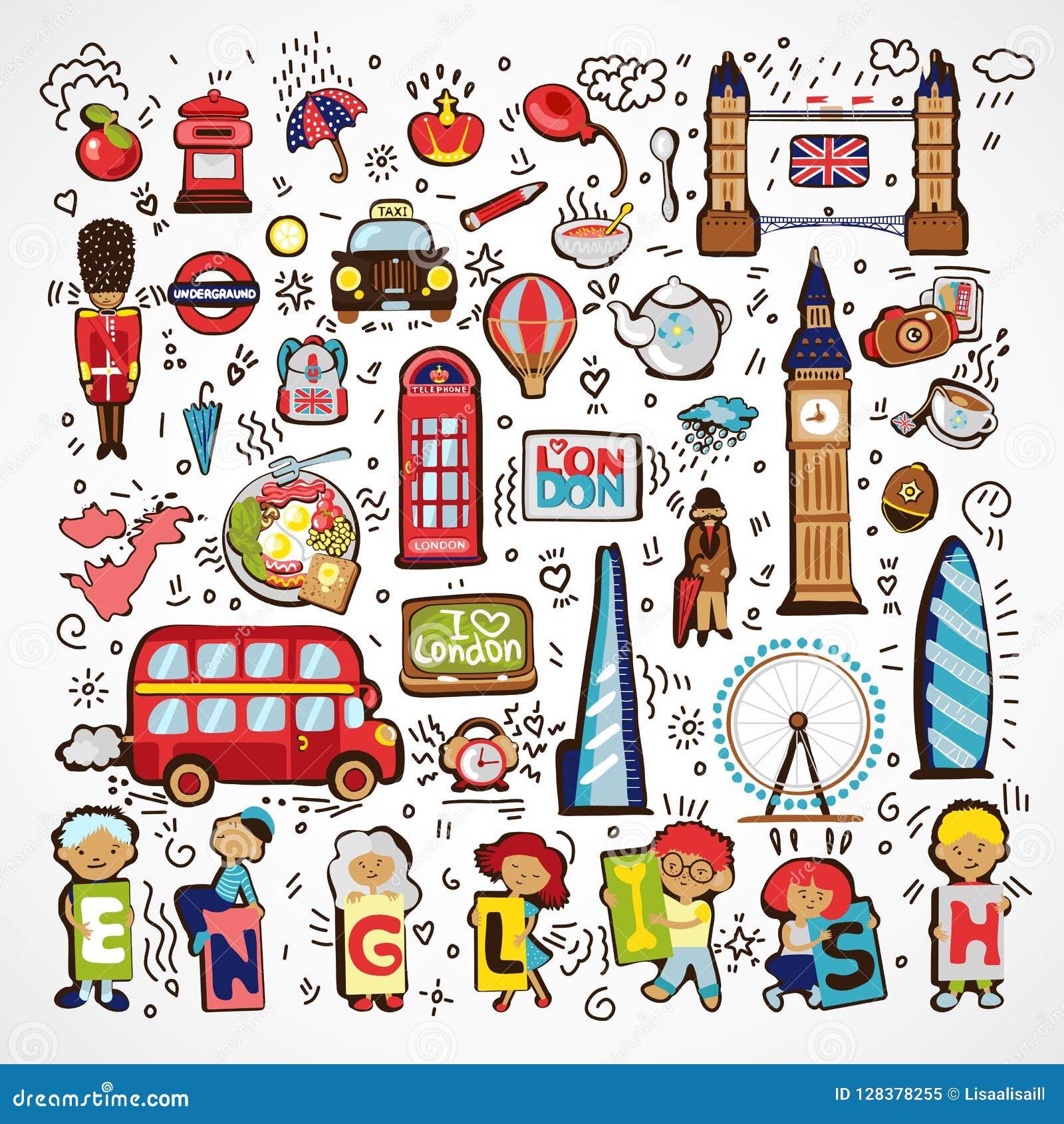 Ensemble d icônes de Londres de vecteur Icône tirée par la main de griffonnage de l Angleterre Monuments architecturaux célèbres,