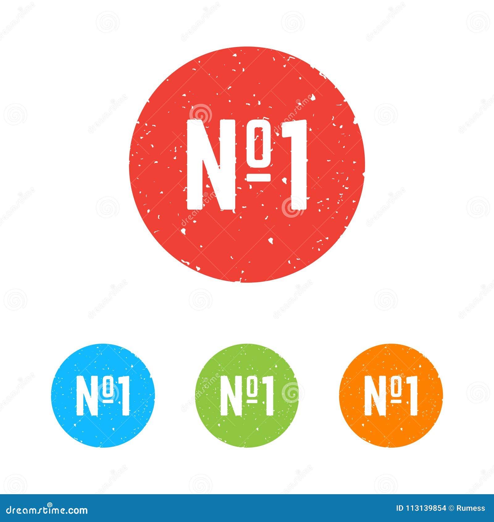 Ensemble d icônes rondes du numéro un